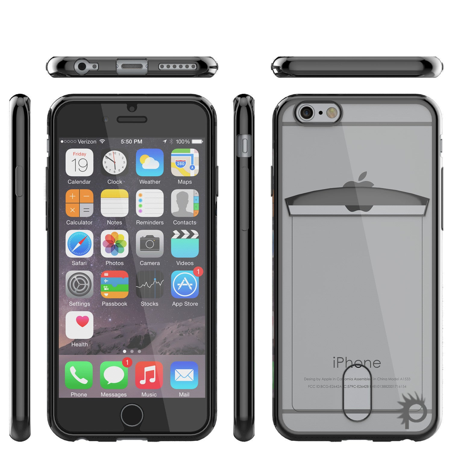 iPhone 6s+ Plus/6+ Plus Case, PUNKCASE® LUCID Black Series | Card Slot | SHIELD Screen Protector