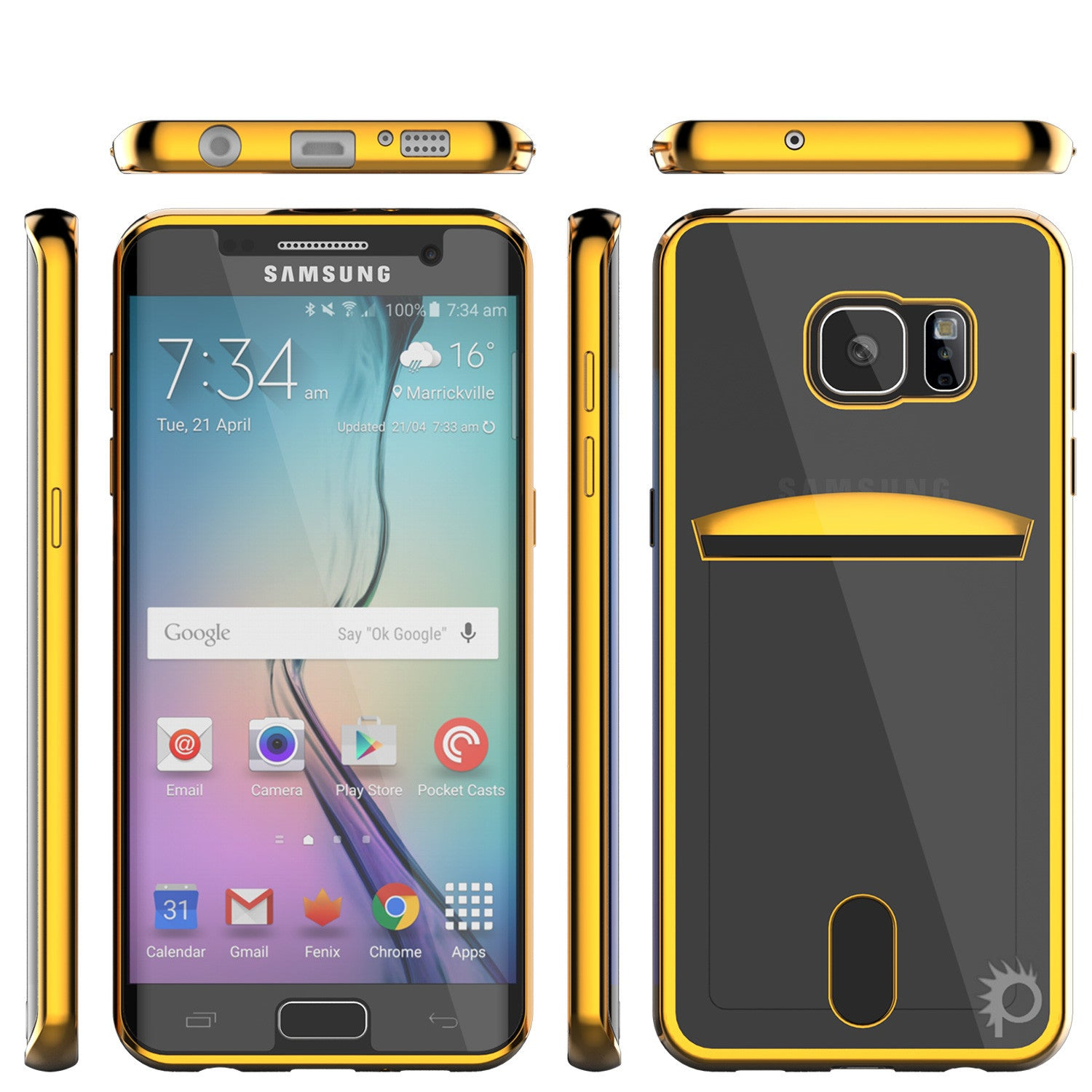 Galaxy S6 EDGE Case, PUNKCASE® LUCID Gold Series | Card Slot | SHIELD Screen Protector | Ultra fit