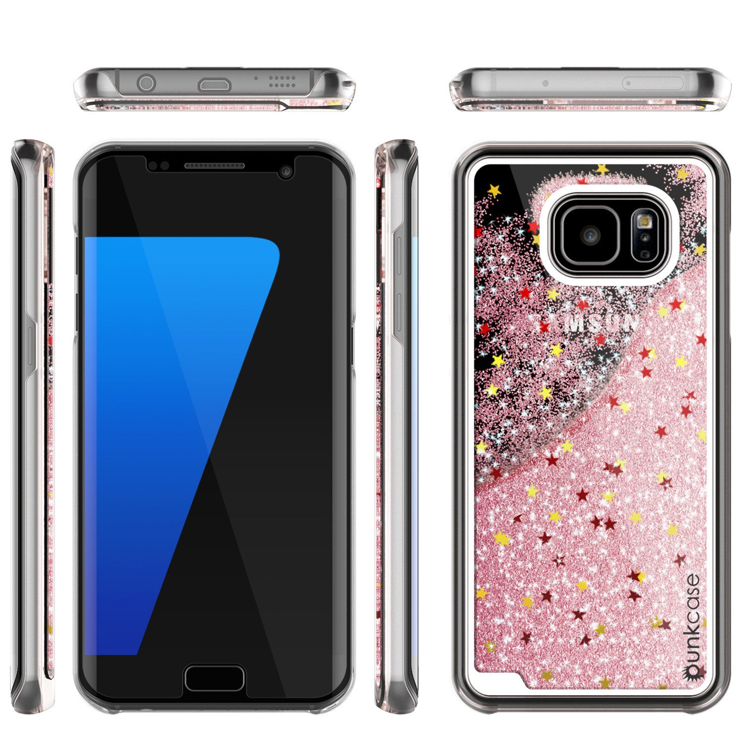 S7 Edge Case, Punkcase [Liquid Rose Series] Protective Dual Layer Floating Glitter Cover with lots of Bling & Sparkle + PunkShield Screen Protector
