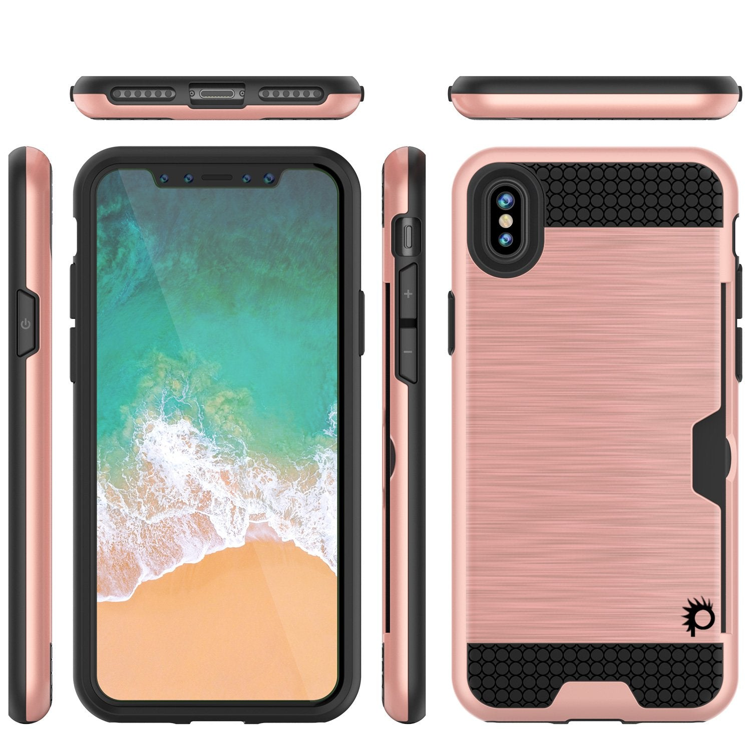 iPhone X Case, PUNKcase [SLOT Series] Slim Fit Dual-Layer Armor Cover & Tempered Glass PUNKSHIELD Screen Protector for Apple iPhone X [Rose Gold]