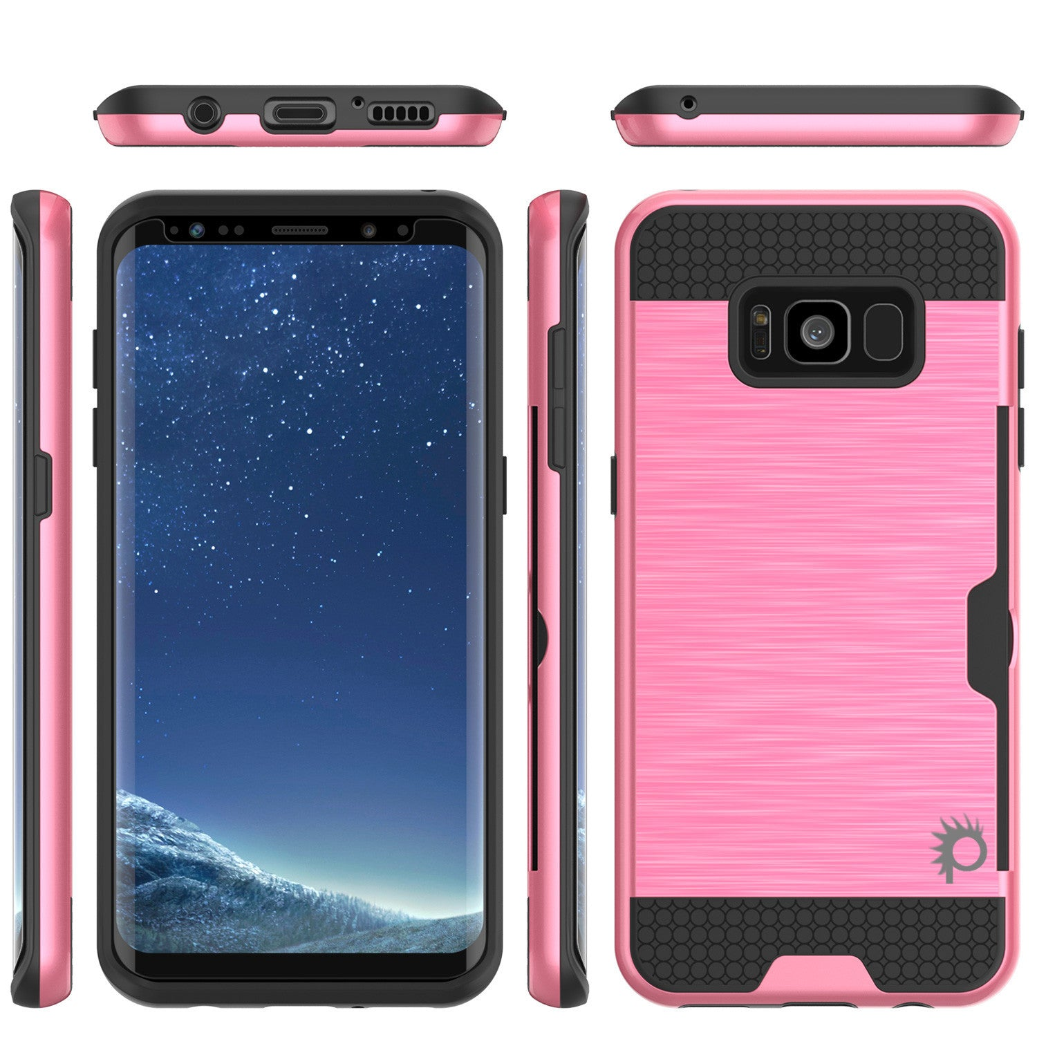 Galaxy S8 Plus Case, PUNKcase [SLOT Series] [Slim Fit] Dual-Layer Armor Cover w/Integrated Anti-Shock System, Credit Card Slot [Pink]