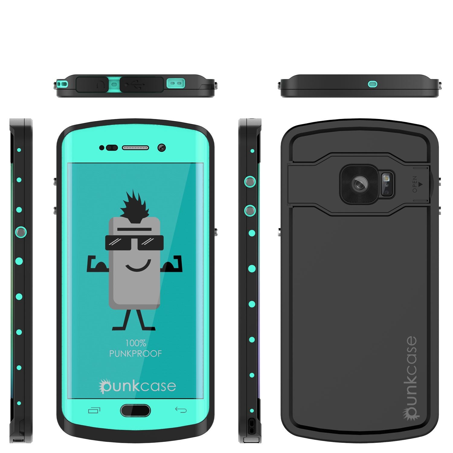 Galaxy s6 EDGE Plus Waterproof Case, Punkcase StudStar Teal Water/Shock Proof | Lifetime Warranty