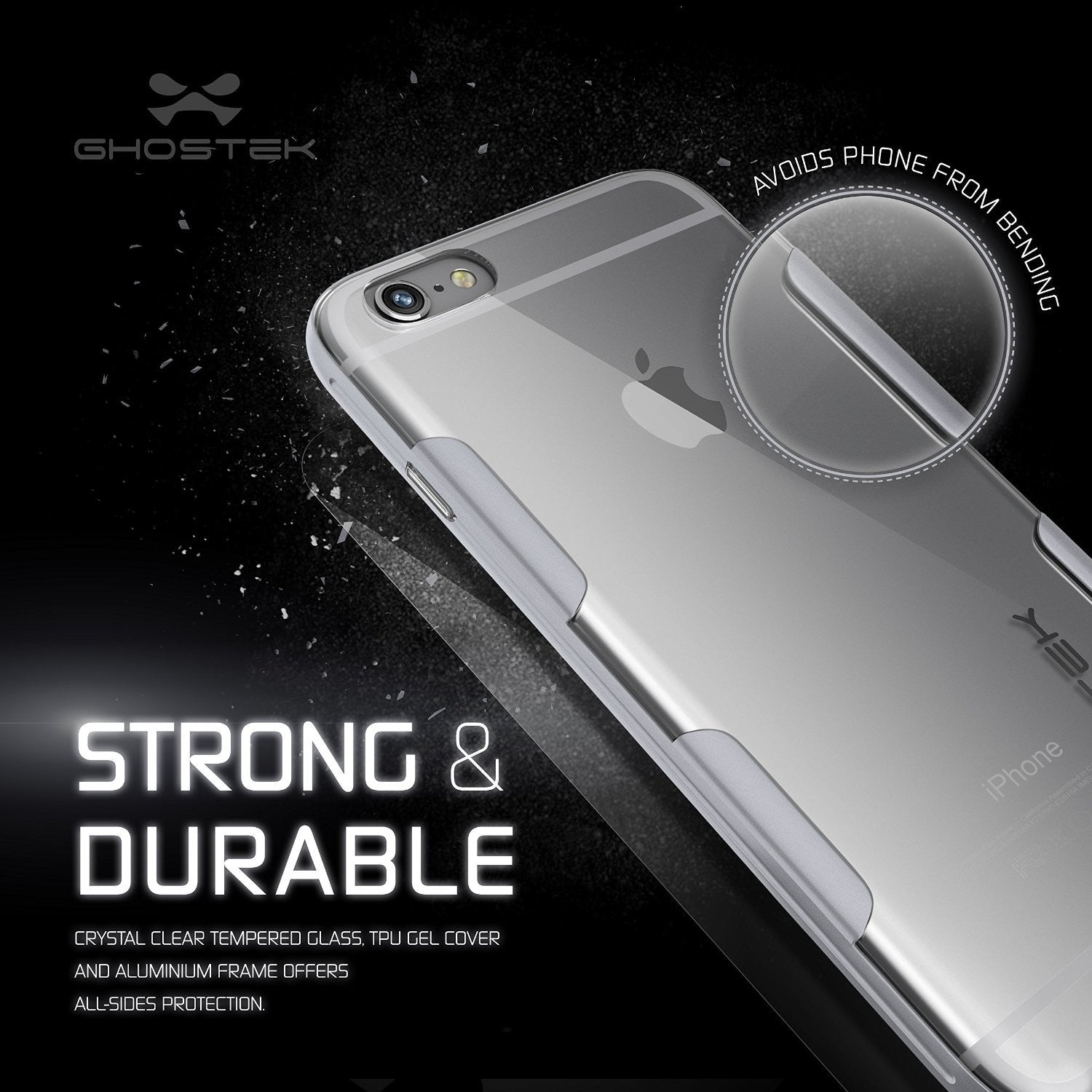 iPhone 6s Plus Case Silver Ghostek Cloak, Slim Protective w/ Tempered Glass | Lifetime Warranty