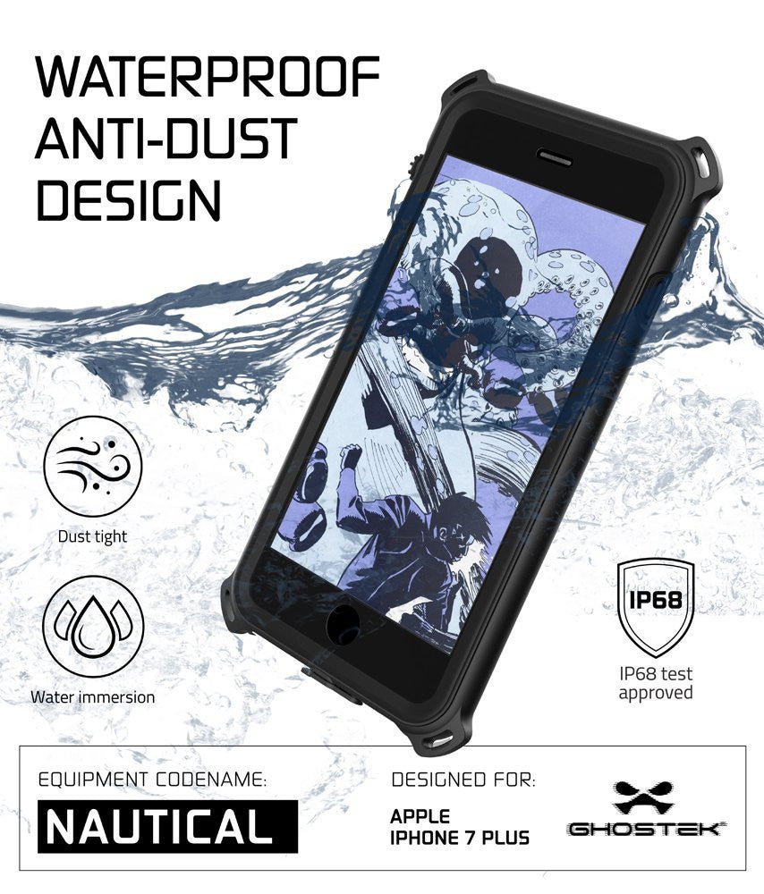 iPhone 7 Plus Waterproof Case, Ghostek Nautical Series for iPhone 7 Plus | Slim Underwater Protection | Adventure Duty | Swimming (Black)