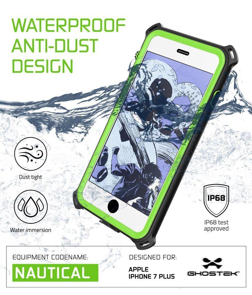 iPhone 8+ Plus Waterproof Case, Ghostek Nautical Series for iPhone 8+ Plus | Slim Underwater Protection | Adventure Duty | Swimming (Green)