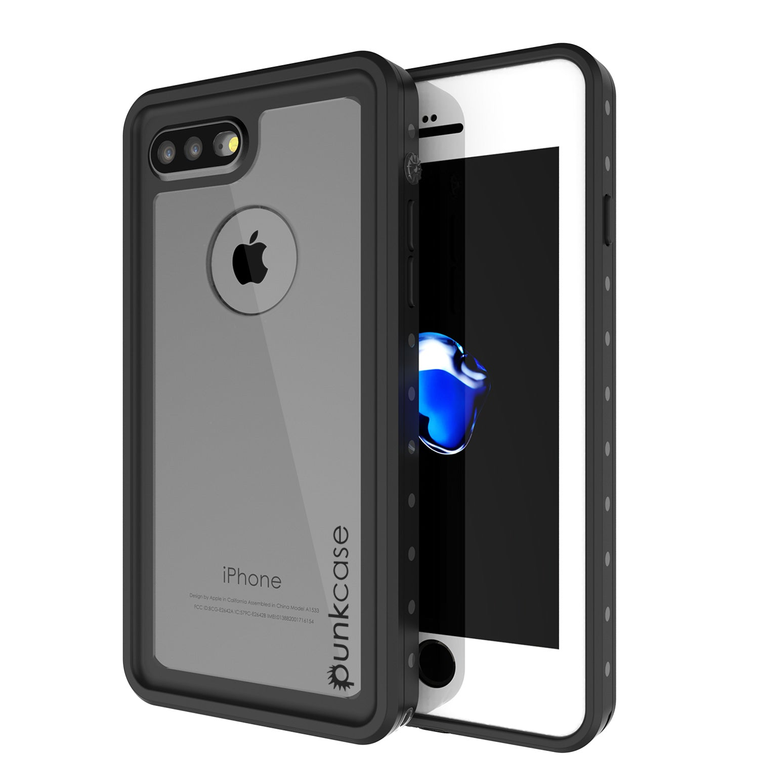 iPhone 7+ Plus Waterproof IP68 Case, Punkcase [Clear] [StudStar Series] [Slim Fit] [Dirtproof]