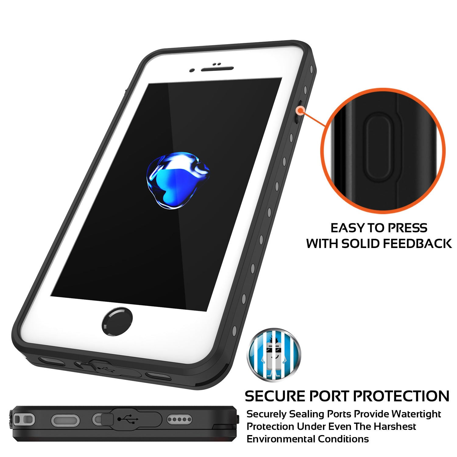 iPhone 8+ Plus Waterproof Case, Punkcase [StudStar Series] [Clear] [Slim Fit] [Shockproof] [Dirtproof] [Snowproof] Armor Cover