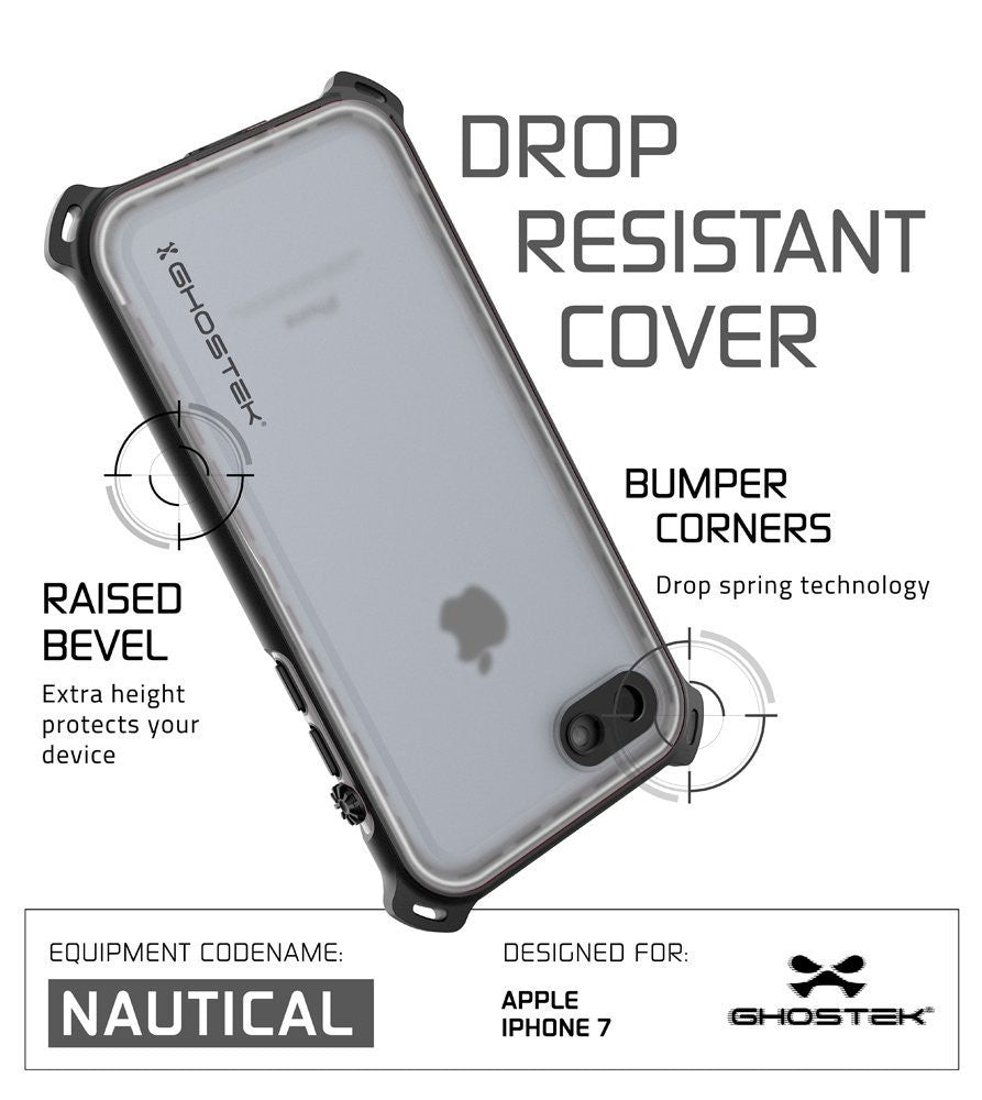iPhone 7 Waterproof Case, Ghostek Nautical Series for iPhone 7 | Slim Underwater Protection | Adventure Duty | Ultra Fit | Swimming (White)
