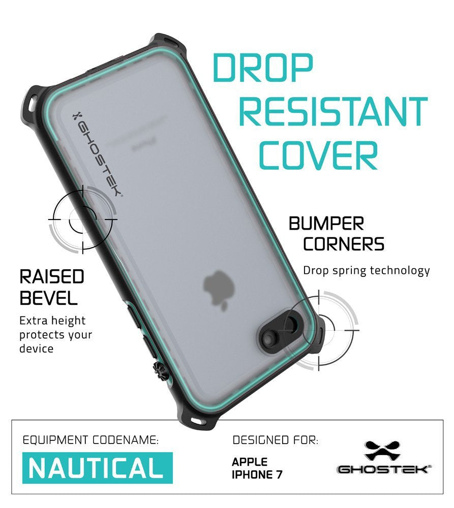 iPhone 7 Waterproof Case, Ghostek Nautical Series for iPhone 7 | Slim Underwater Protection | Adventure Duty | Ultra Fit | Swimming (Teal)