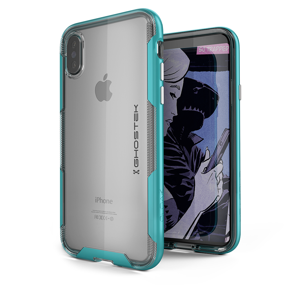 Ghostek Cloak 3 Series Apple iPhone X Clear Skin Gel With Reinforced Bumper | Wireless Charging Compatible | Teal