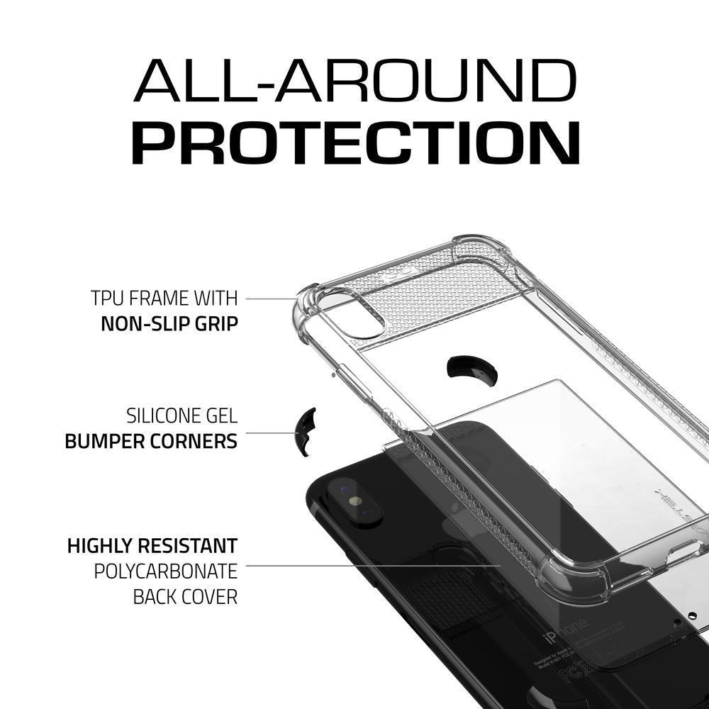 Ghostek Transparent iPhone X Case, Covert2 Series Resilient Rugged Armor Design | Supports AirPower Wireless Charging | Black
