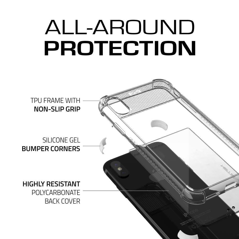 iPhone X Slim Clear Case, Ghostek Covert 2 Series Ultra Thin Shockproof Protective Cover | Hybrid Impact Drop Protection Technology | White