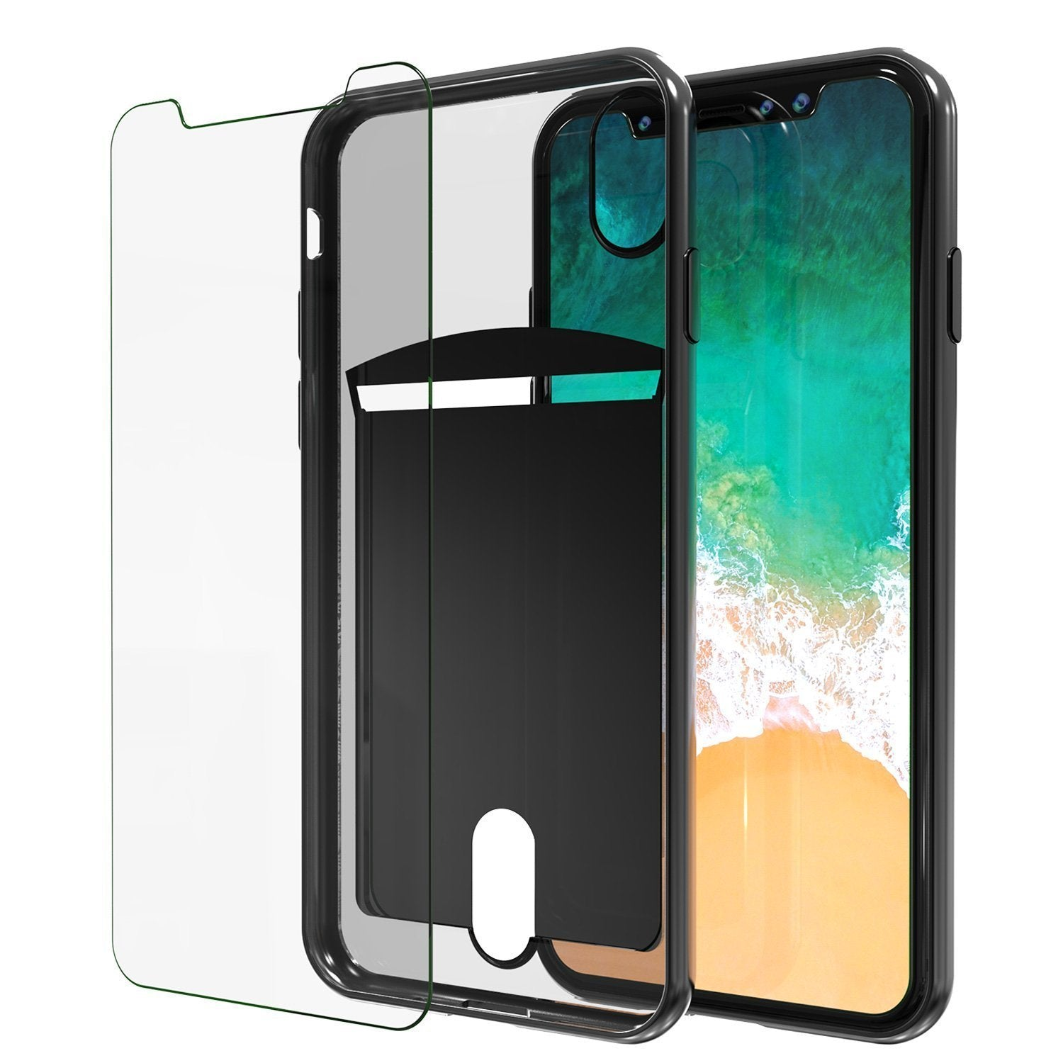iPhone X Case, PUNKcase [LUCID Series] Slim Fit Protective Dual Layer Armor Cover W/ Scratch Resistant PUNKSHIELD Screen Protector [Black]