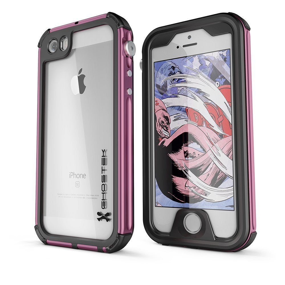 iPhone SE Waterproof Case, Ghostek® Atomic 3.0 Pink Series for Apple iPhone 5, 5S & SE
