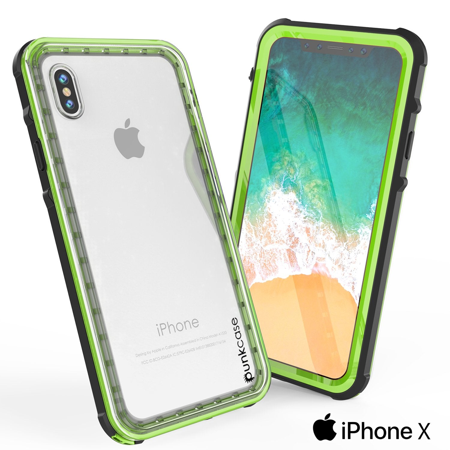iPhone X Case, PUNKCase [CRYSTAL SERIES] Protective IP68 Certified Cover W/ Attached Screen Protector [LIGHT GREEN]