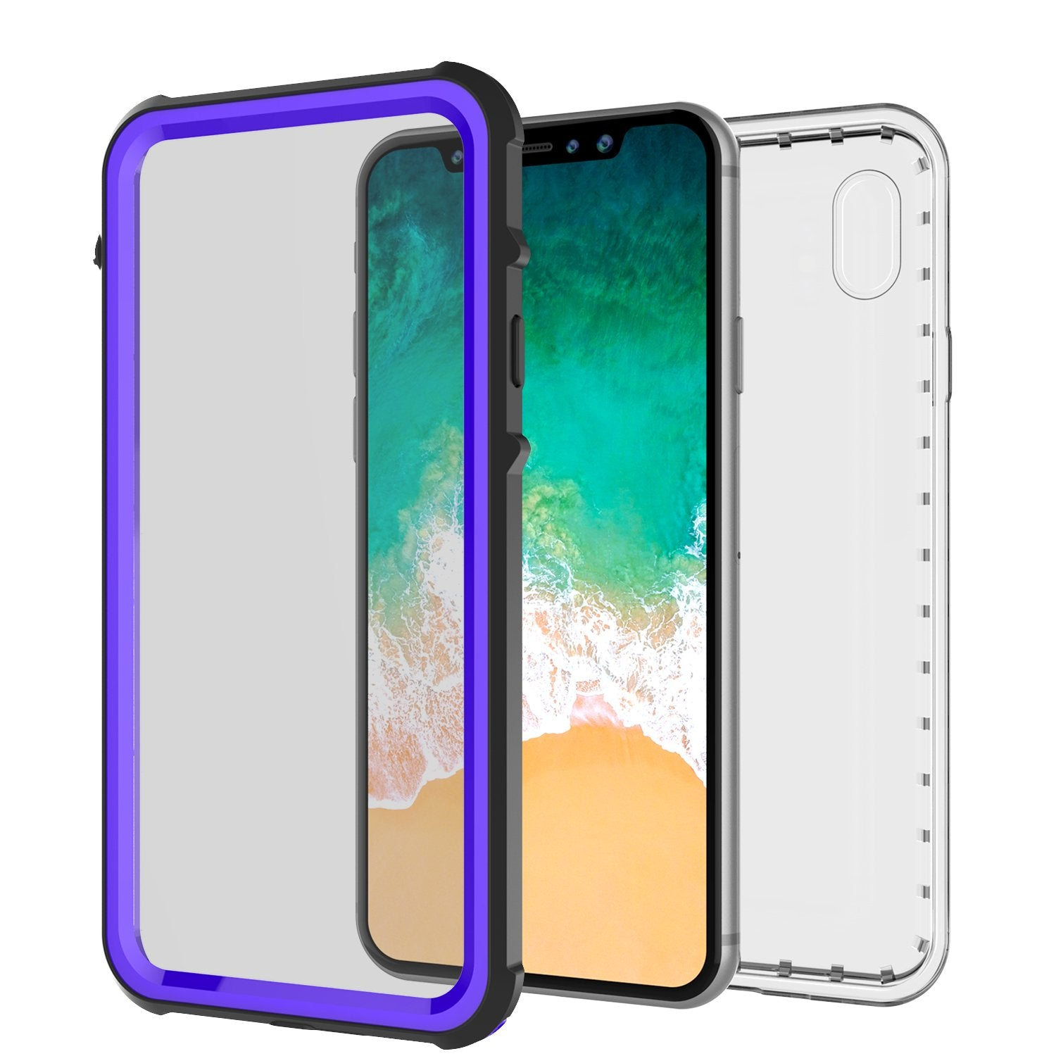 iPhone X Case, PUNKCase [CRYSTAL SERIES] Protective IP68 Certified Cover W/ Attached Screen Protector [PURPLE]