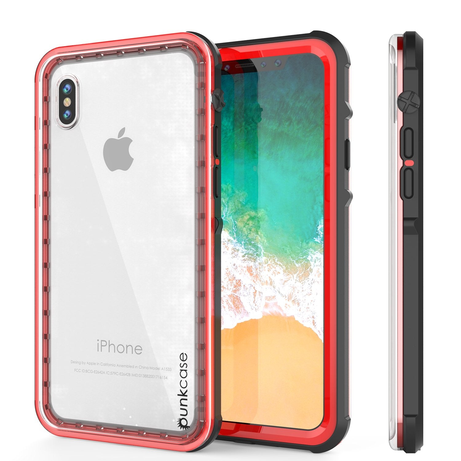 iPhone X Case, PUNKCase [CRYSTAL SERIES] Protective IP68 Certified Cover W/ Attached Screen Protector [RED]