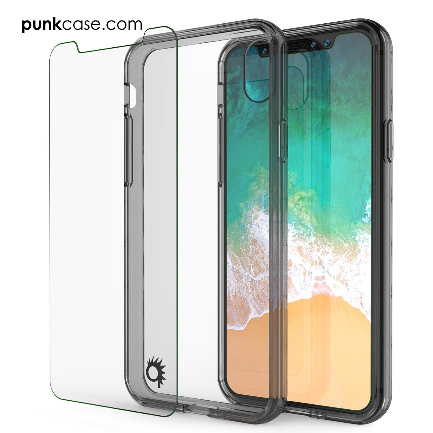 iPhone X Case, PUNKcase [LUCID 2.0 Series] [Slim Fit] Armor Cover W/Integrated Anti-Shock System & Tempered Glass Screen Protector [Crystal Black]