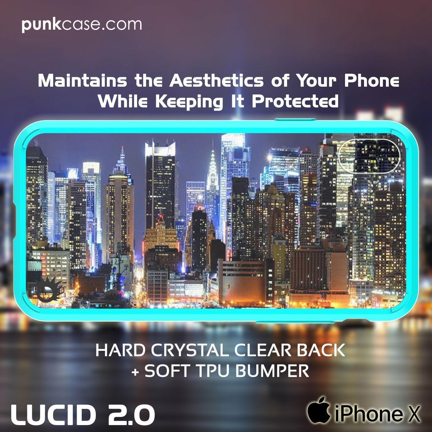 iPhone X Case, PUNKcase [LUCID 2.0 Series] [Slim Fit] Armor Cover W/Integrated Anti-Shock System & Tempered Glass PUNKSHIELD Screen Protector [Teal]