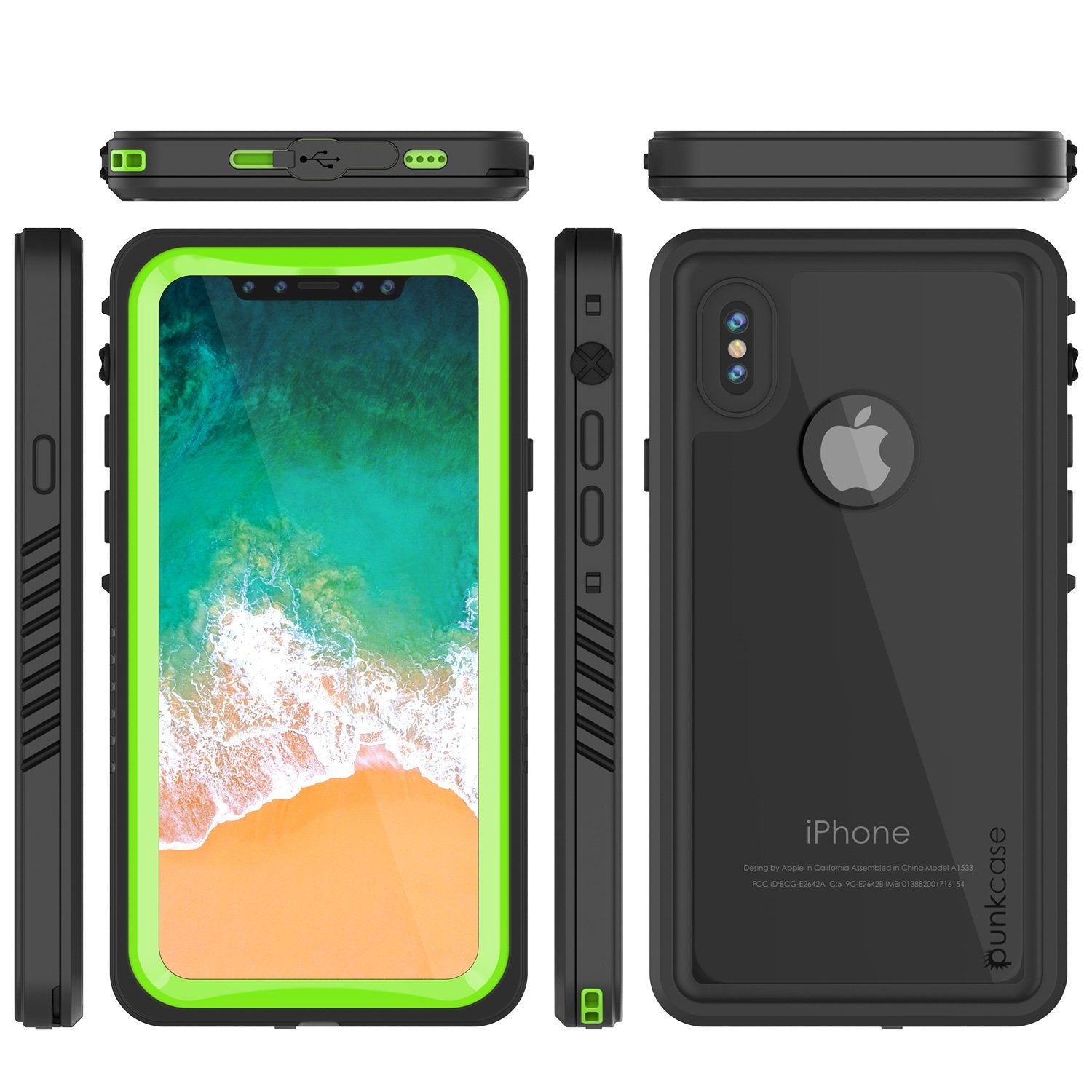 iPhone X Case, Punkcase [Extreme Series] [Slim Fit] [IP68 Certified] [Shockproof] [Snowproof] [Dirproof] Armor Cover W/ Built In Screen Protector for Apple iPhone 10 [LIGHT GREEN]