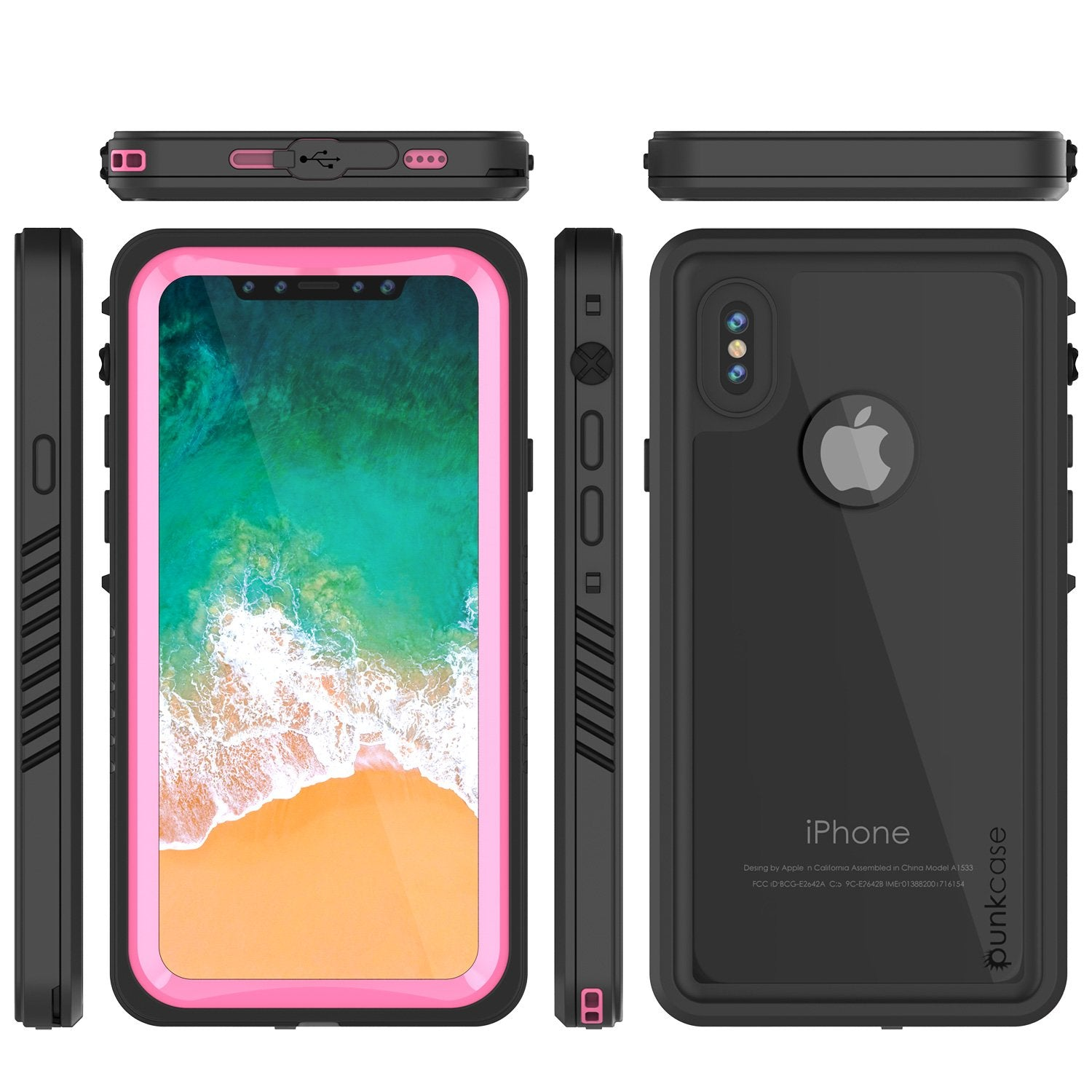 iPhone X Case, Punkcase [Extreme Series] [Slim Fit] [IP68 Certified] [Shockproof] [Snowproof] [Dirproof] Armor Cover W/ Built In Screen Protector for Apple iPhone 10 [PINK]