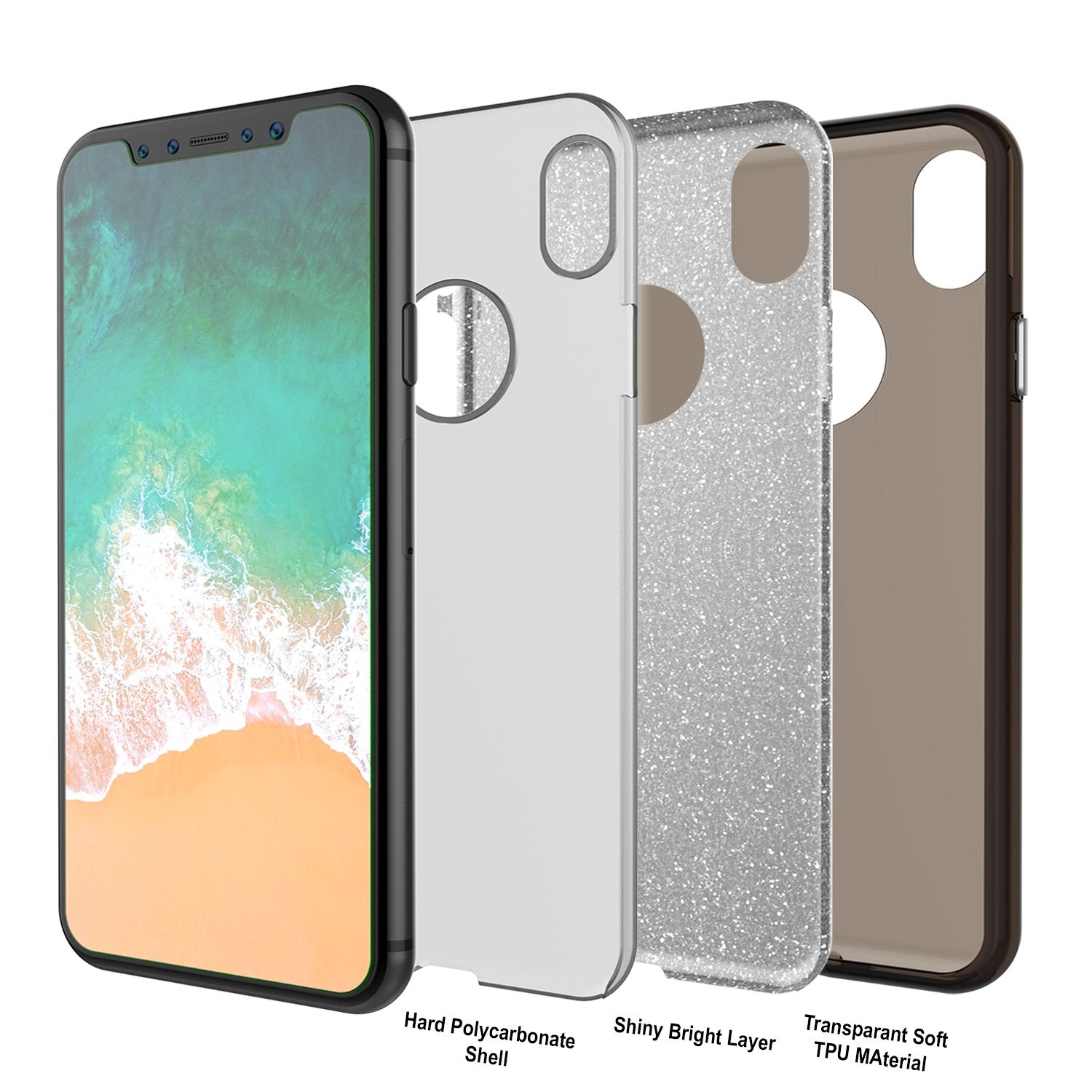 iPhone X Case, Punkcase Galactic 2.0 Series Ultra Slim w/ Tempered Glass Screen Protector | [Black/Grey]