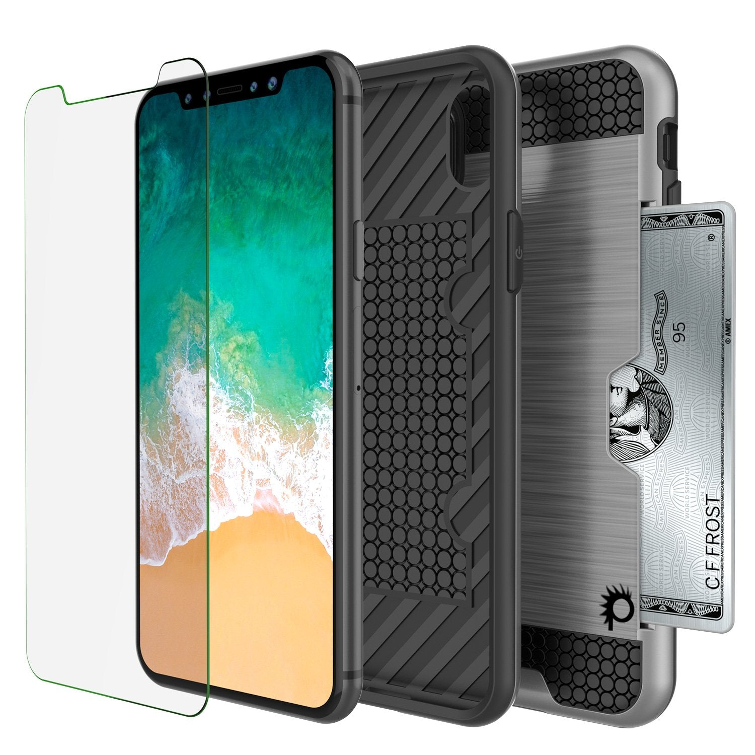 iPhone X Case, PUNKcase [SLOT Series] Slim Fit Dual-Layer Armor Cover & Tempered Glass PUNKSHIELD Screen Protector for Apple iPhone X [Silver]