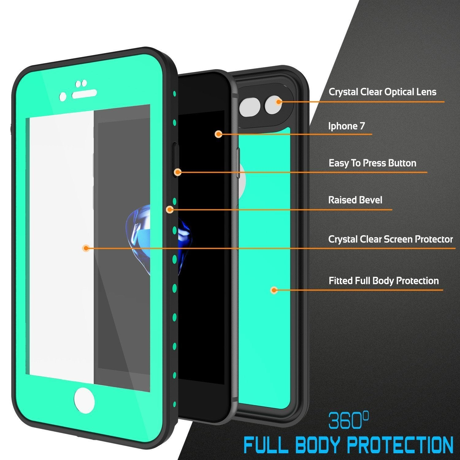 iPhone 8 Waterproof Case, Punkcase [Teal] [StudStar Series] [Slim Fit] [IP68 Certified]] [Dirtproof] [Snowproof]