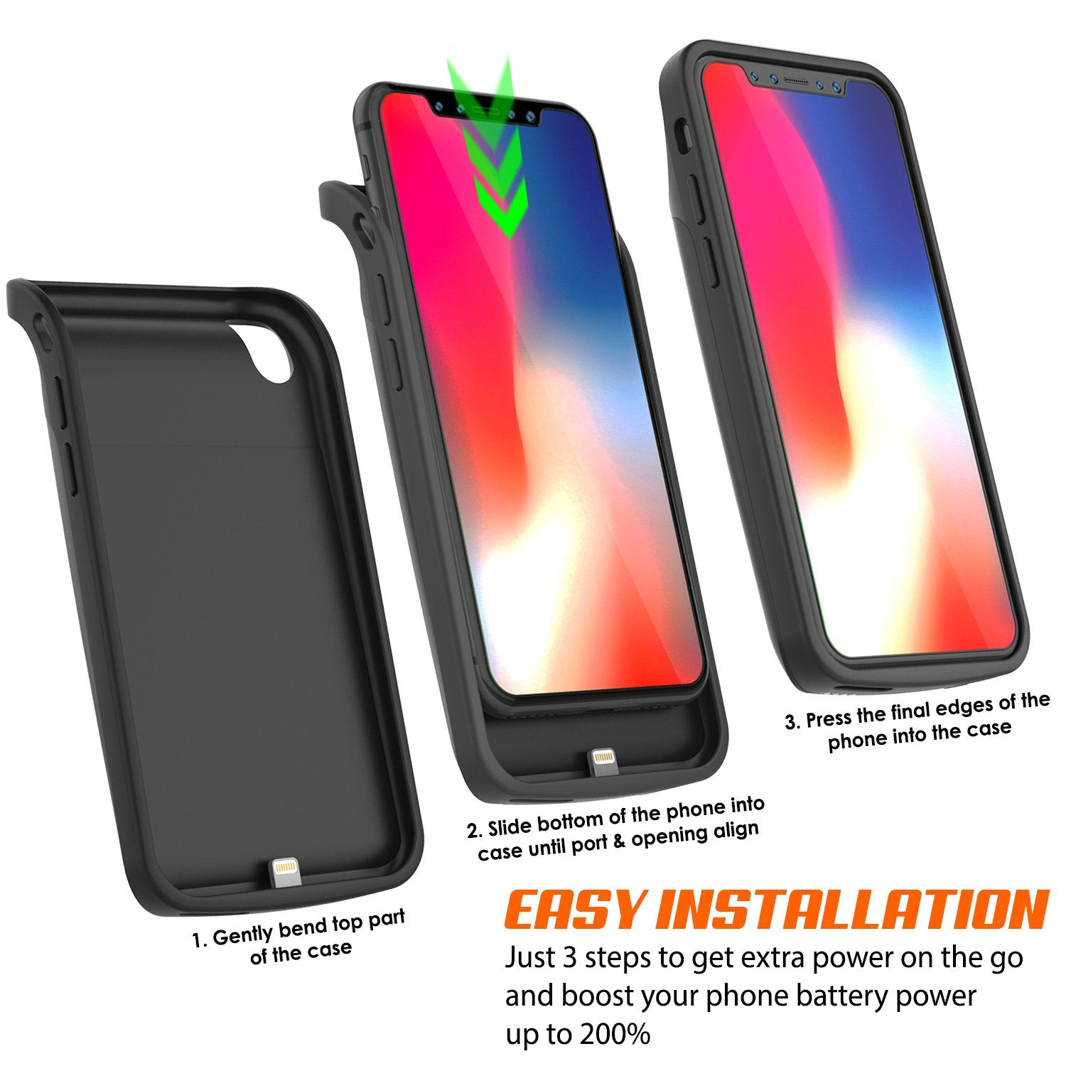 iPhone X Battery Case, PunkJuice 5000mAH Fast Charging Power Bank W/ Screen Protector | [Black]
