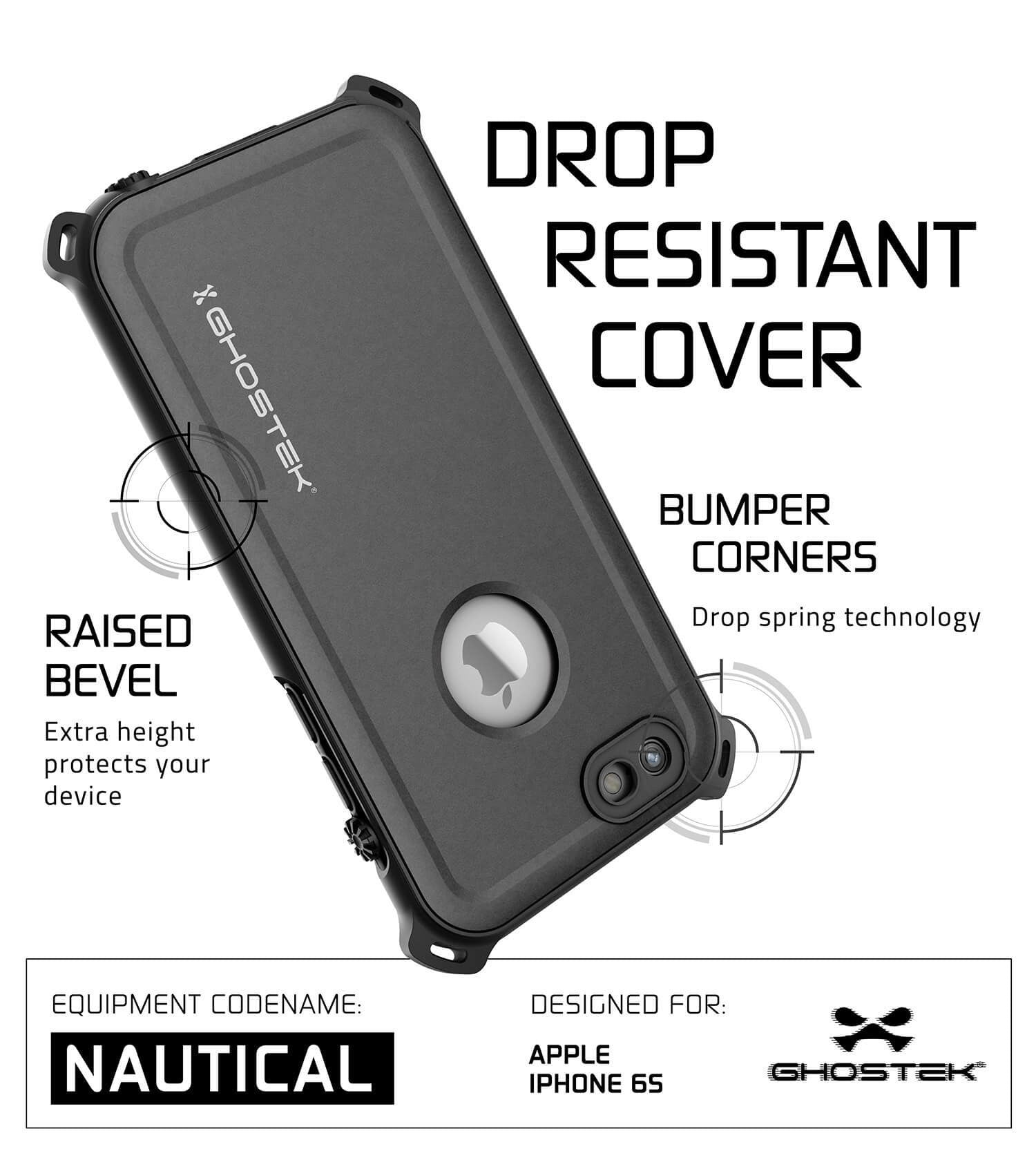 iPhone 6S/6 Waterproof Case, Ghostek® Nautical Black Series| Underwater | Aluminum Frame | Ultra Fit