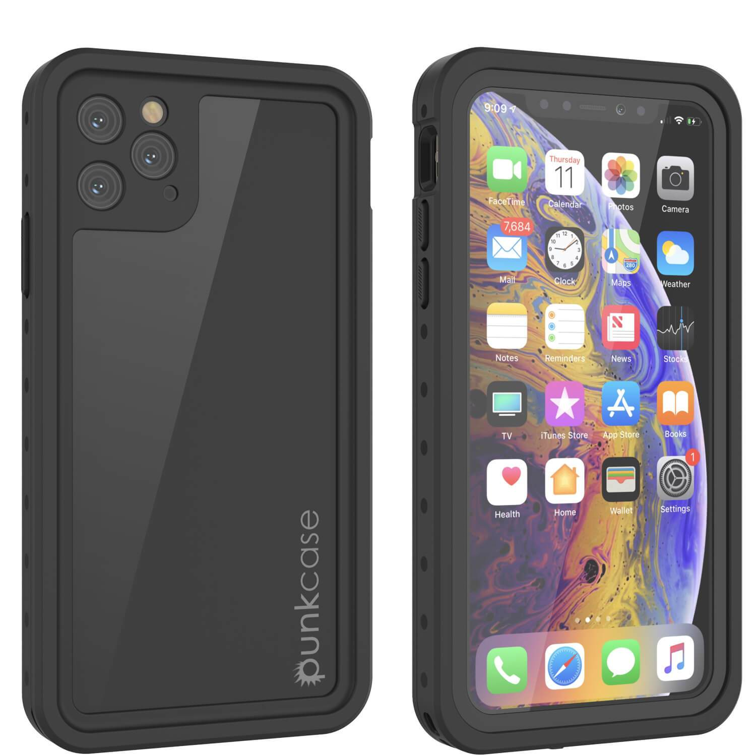 iPhone 11 Pro Waterproof IP68 Case, Punkcase [Black] [StudStar Series] [Slim Fit]