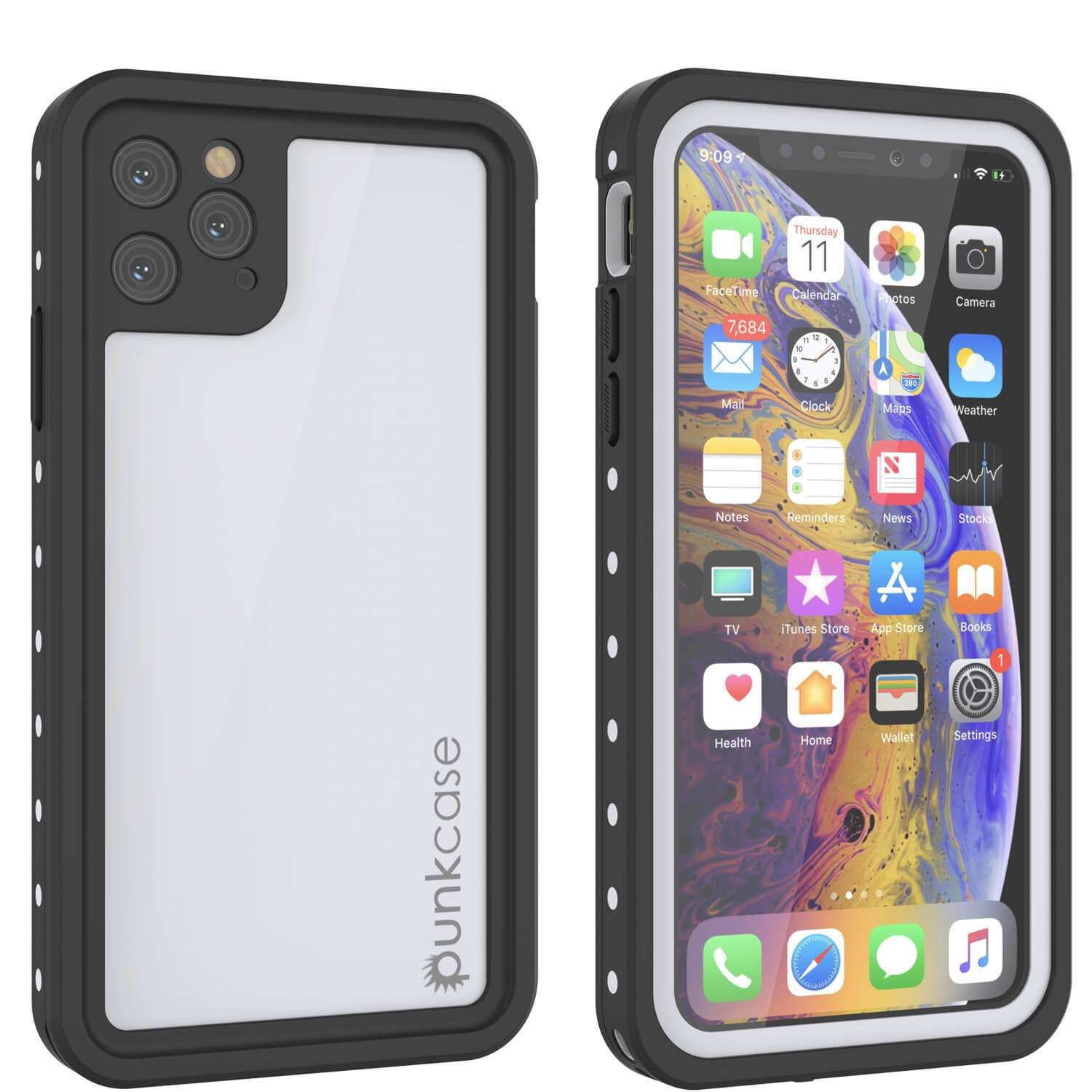 iPhone 11 Pro Waterproof IP68 Case, Punkcase [White] [StudStar Series] [Slim Fit] [Dirtproof]
