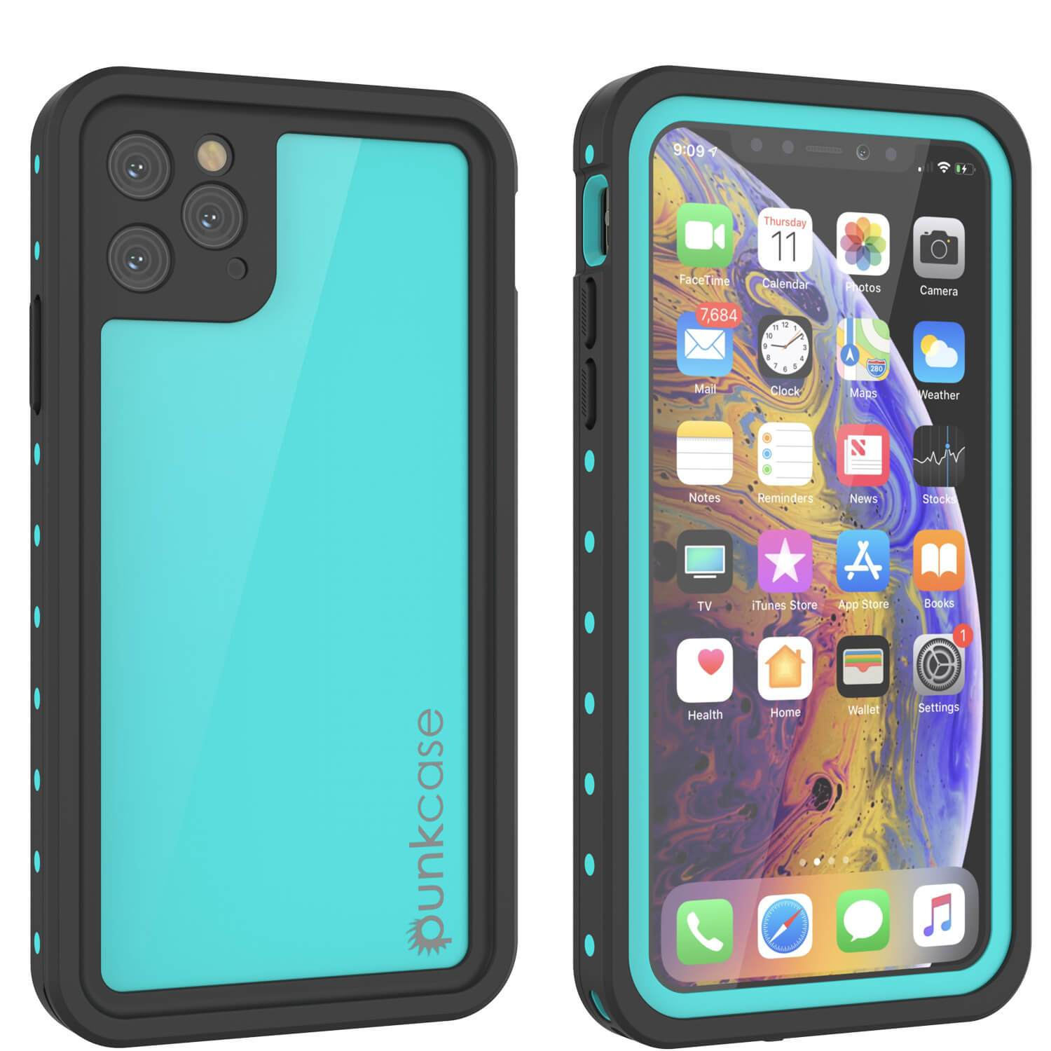 iPhone 11 Pro Waterproof IP68 Case, Punkcase [Teal] [StudStar Series] [Slim Fit]
