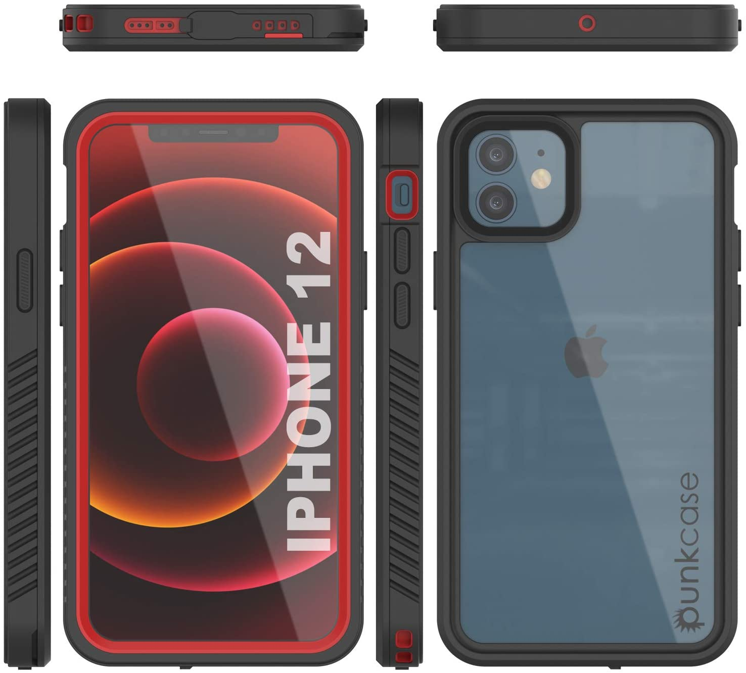 iPhone 12  Waterproof Case, Punkcase [Extreme Series] Armor Cover W/ Built In Screen Protector [Red]