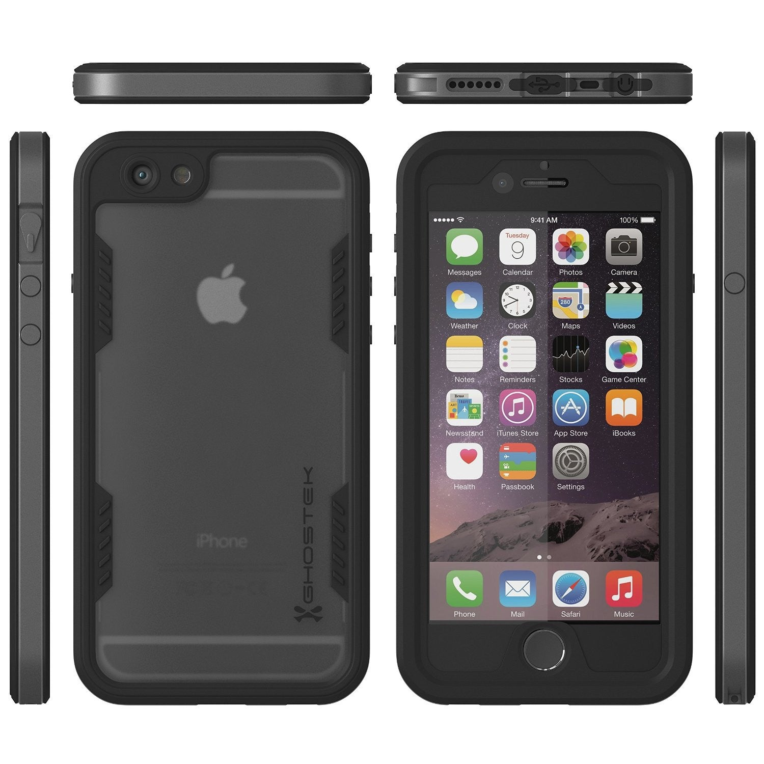 iPhone 6S+/6+ Plus Waterproof Case Ghostek Atomic 2.0 Space Gray w/ Attached Screen Protector | Slim