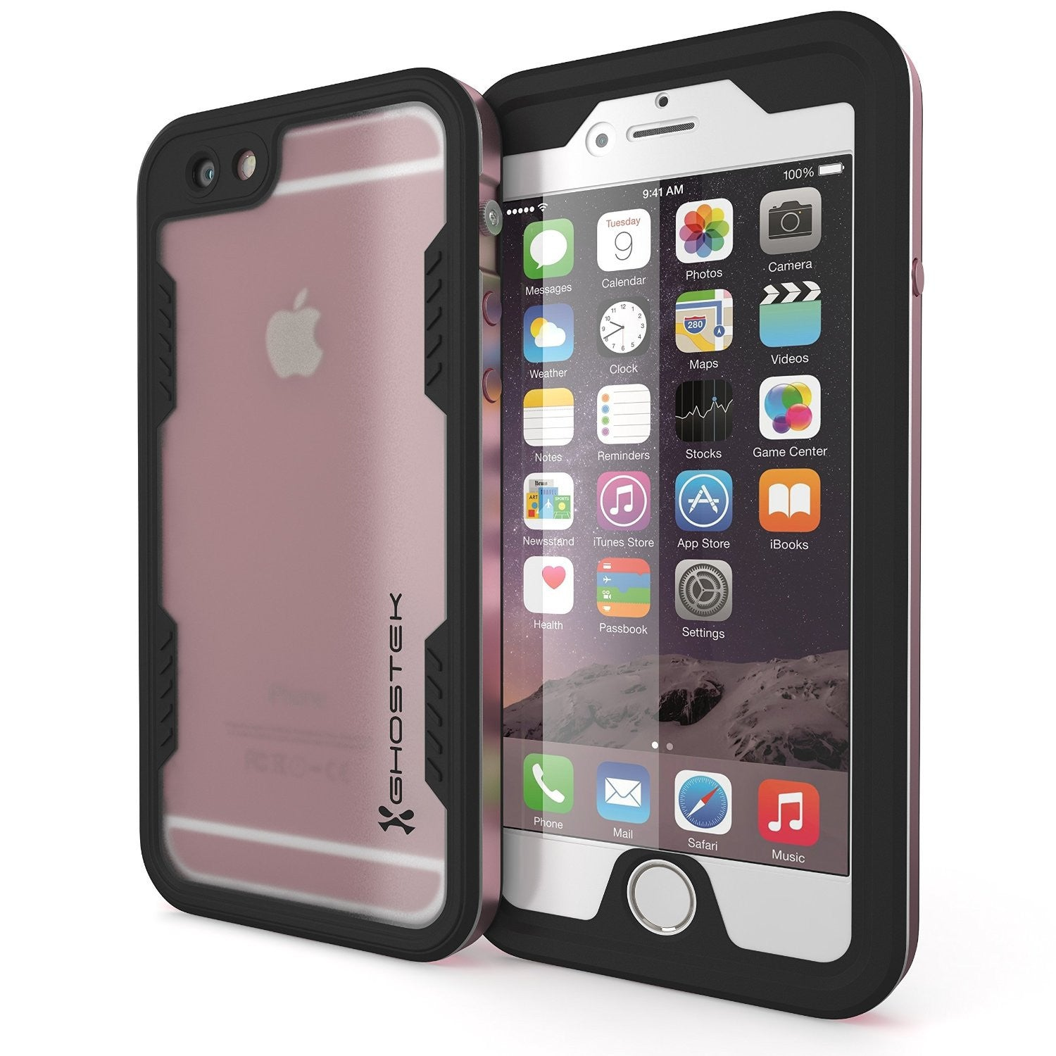 iPhone 6/6S Waterproof Case, Ghostek Atomic 2.0 Space Pink W/ Attached Screen Protector, Slim Fitted