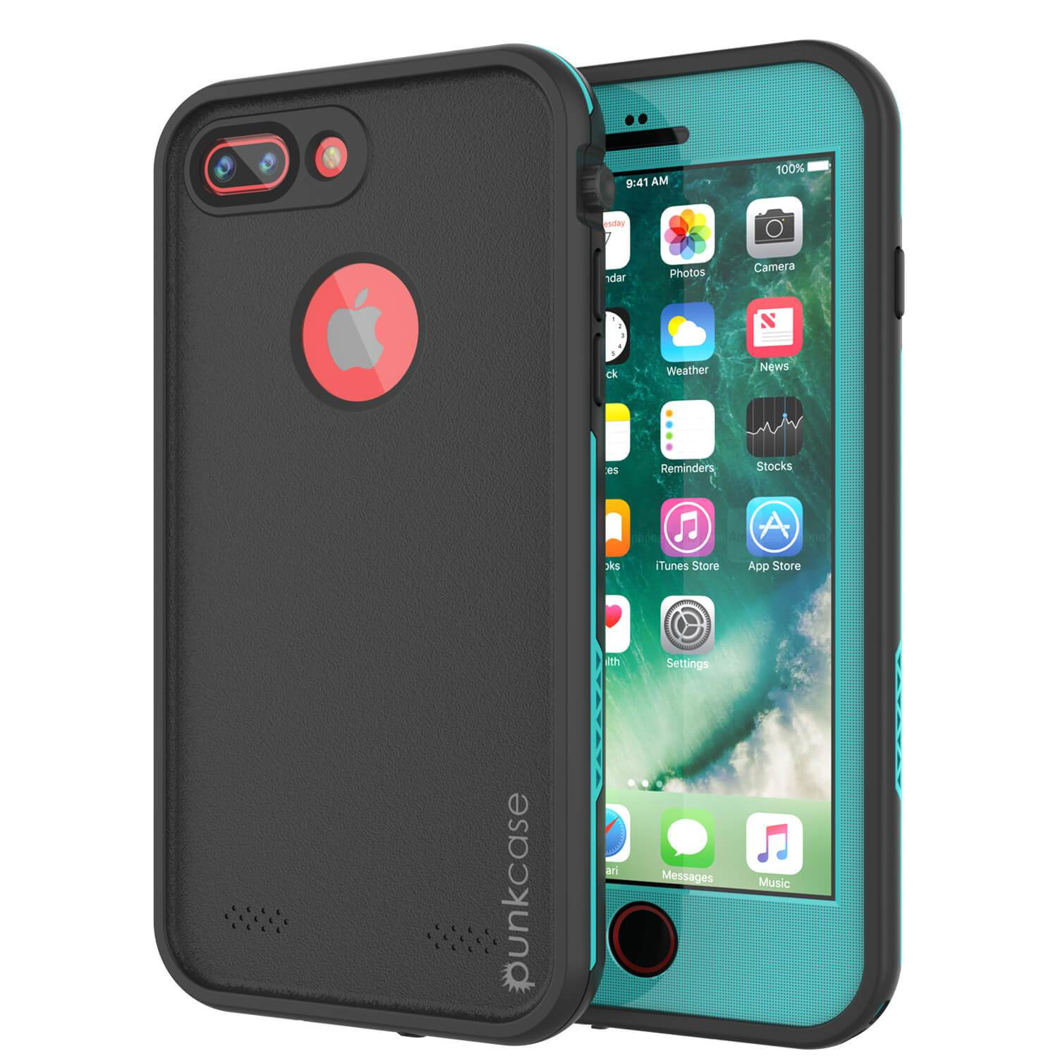 iPhone 7+ Plus Waterproof Case, Punkcase SpikeStar Teal Series | Thin Fit 6.6ft Underwater IP68
