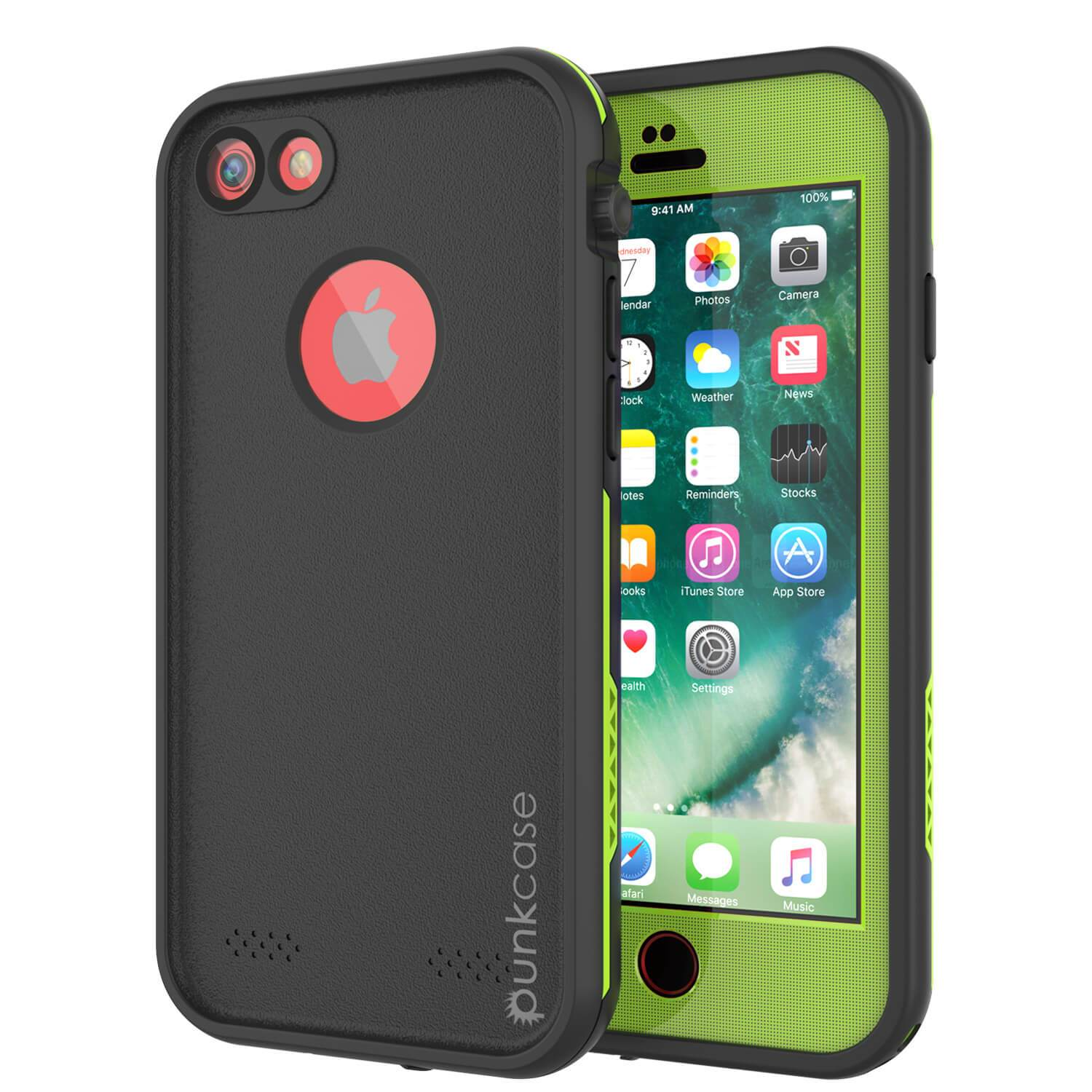 iPhone 7 Waterproof Case, Punkcase SpikeStar Light-Green Series | Thin Fit 6.6ft Underwater IP68