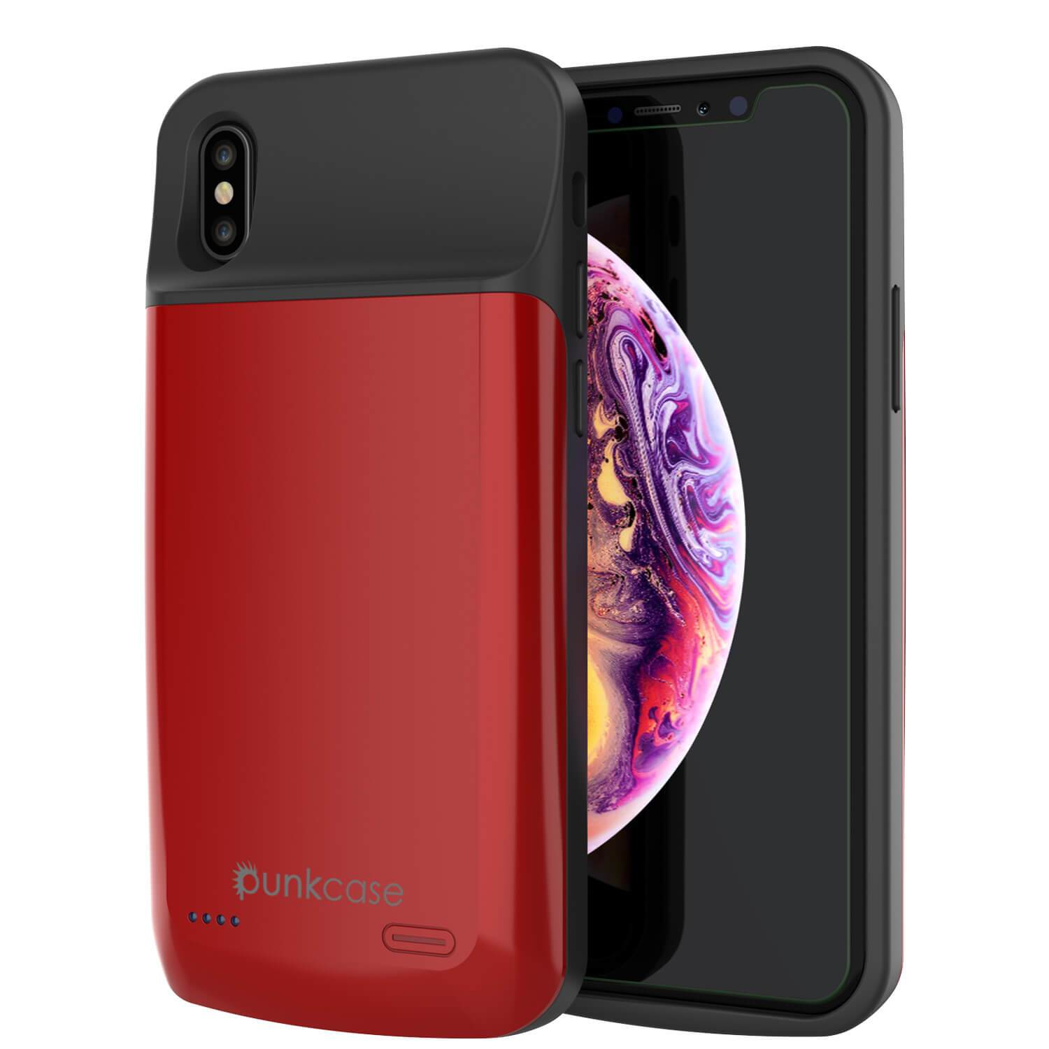 iphone XS Max Battery Case, PunkJuice 5000mAH Fast Charging Power Bank W/ Screen Protector | [Red]