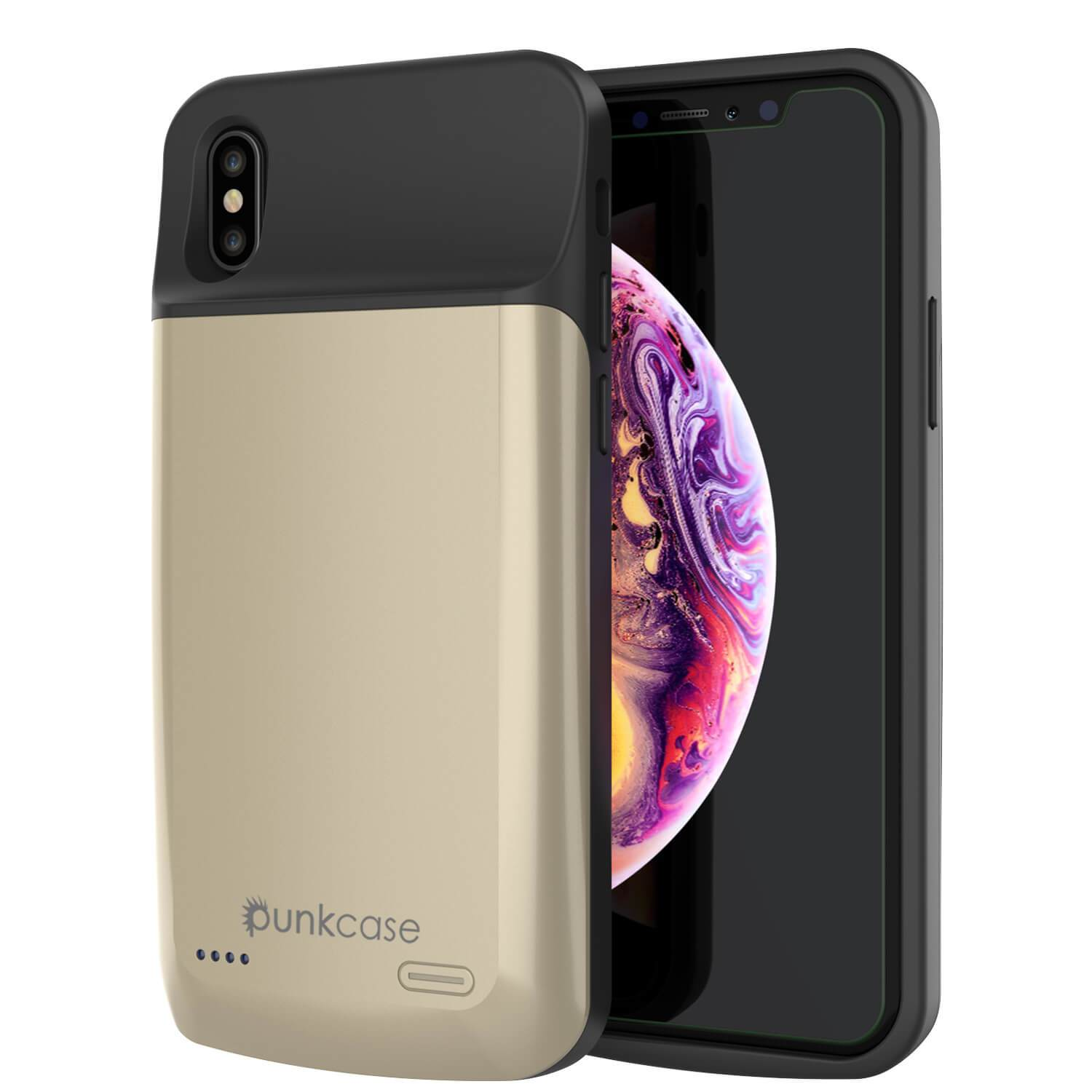 iphone XS Max Battery Case, PunkJuice 5000mAH Fast Charging Power Bank W/ Screen Protector | [Gold]