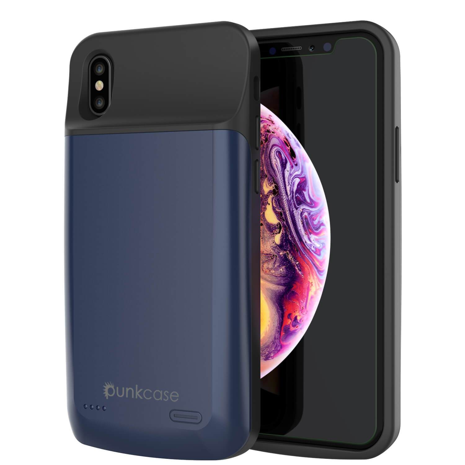 iphone XS Max Battery Case, PunkJuice 5000mAH Fast Charging Power Bank W/ Screen Protector | [Blue]