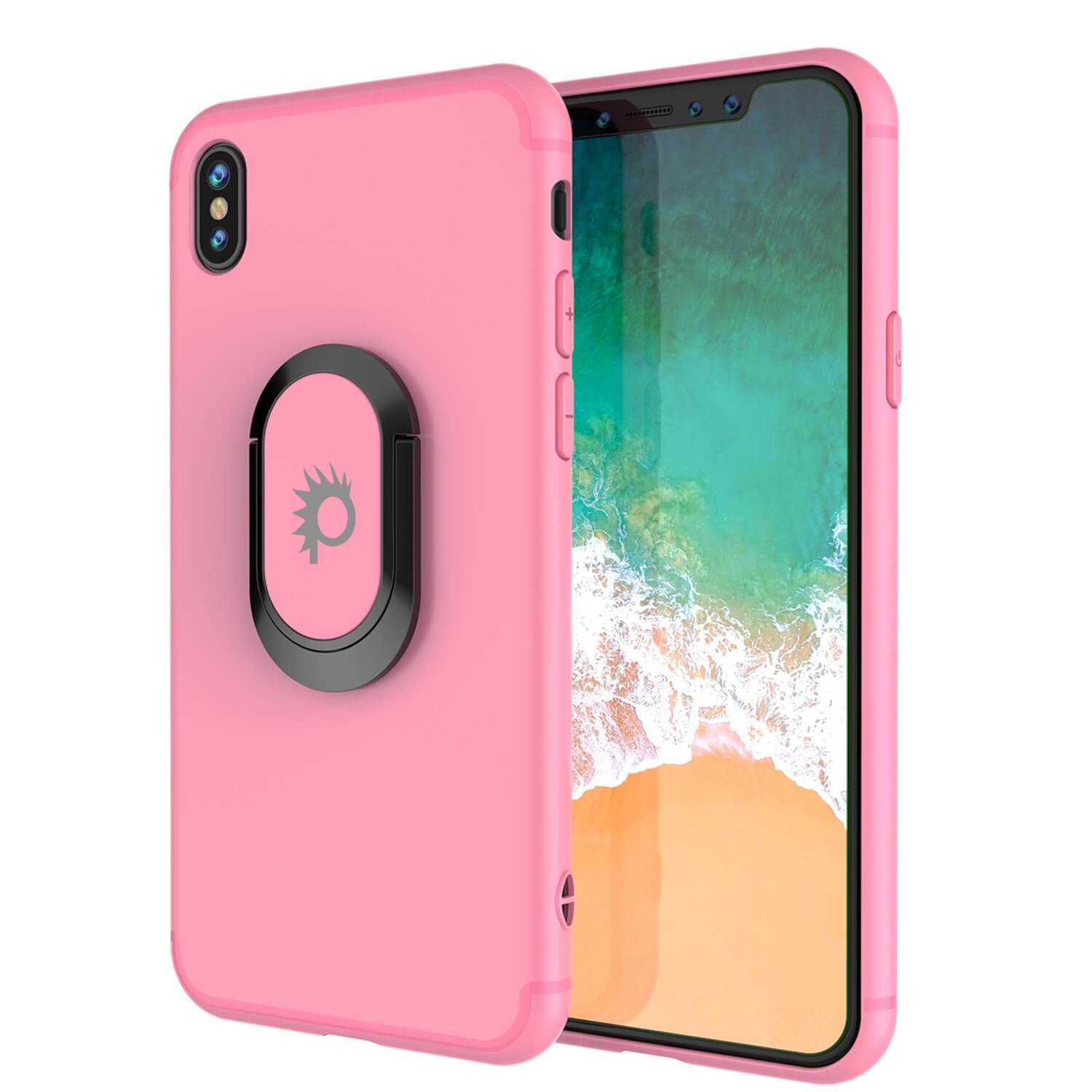 iPhone XS Max Case, Punkcase Magnetix Protective TPU Cover W/ Kickstand, Tempered Glass Screen Protector [Pink]