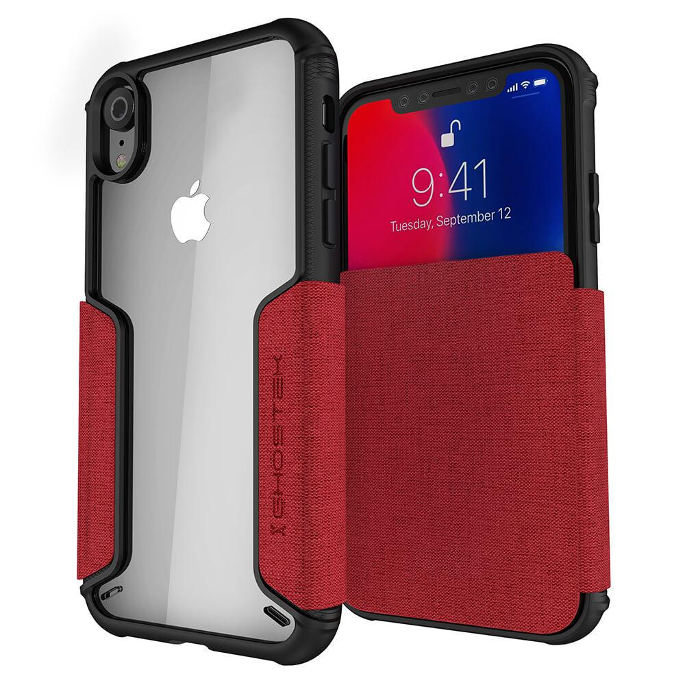 iPhone Xr Case, Ghostek Exec 3 Series for iPhone Xr / iPhone Pro Protective Wallet Case [RED]