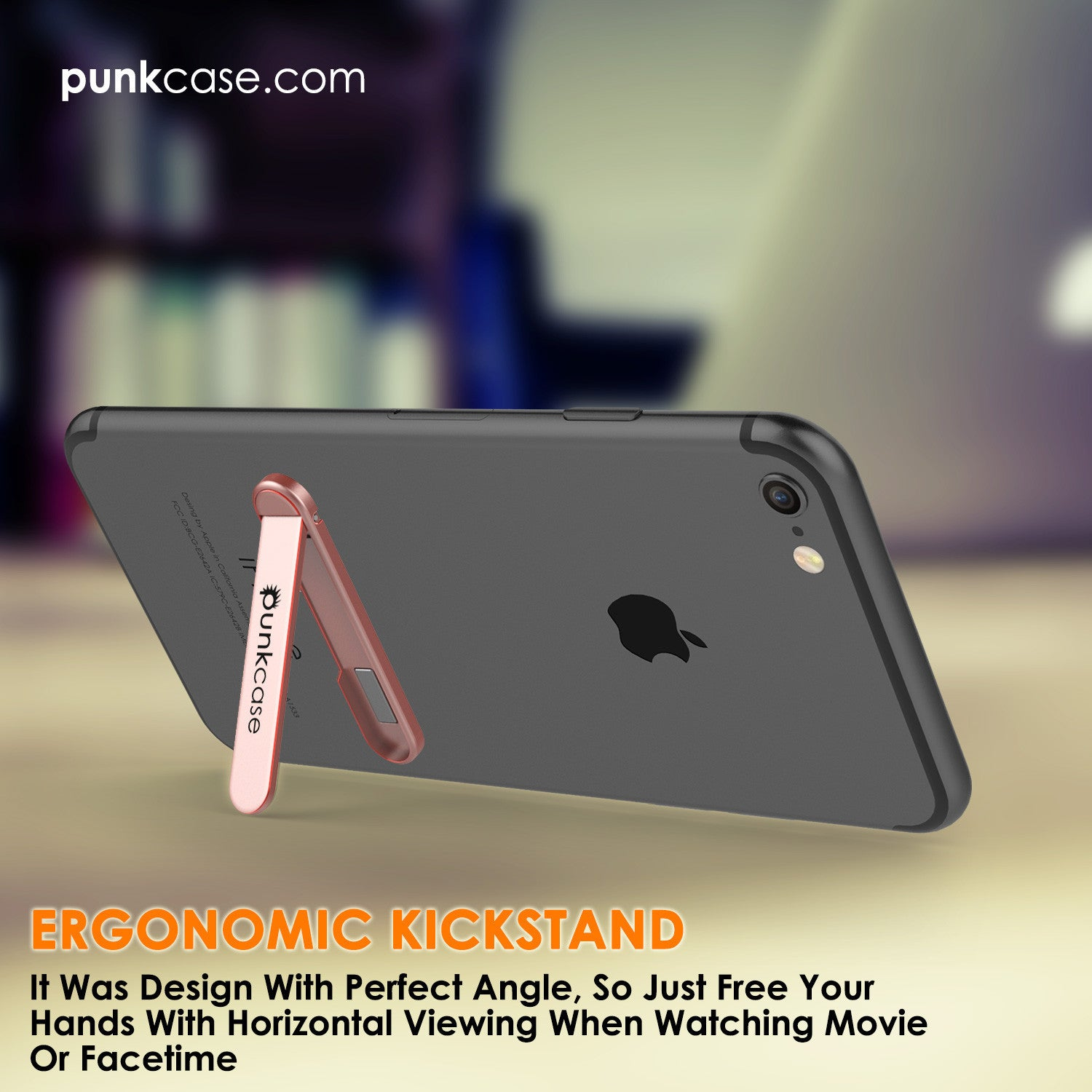 PUNKCASE FlickStick Universal Cell Phone Kickstand for all Mobile Phones & Cases with Flat Backs, One Finger Operation (Rose Gold)
