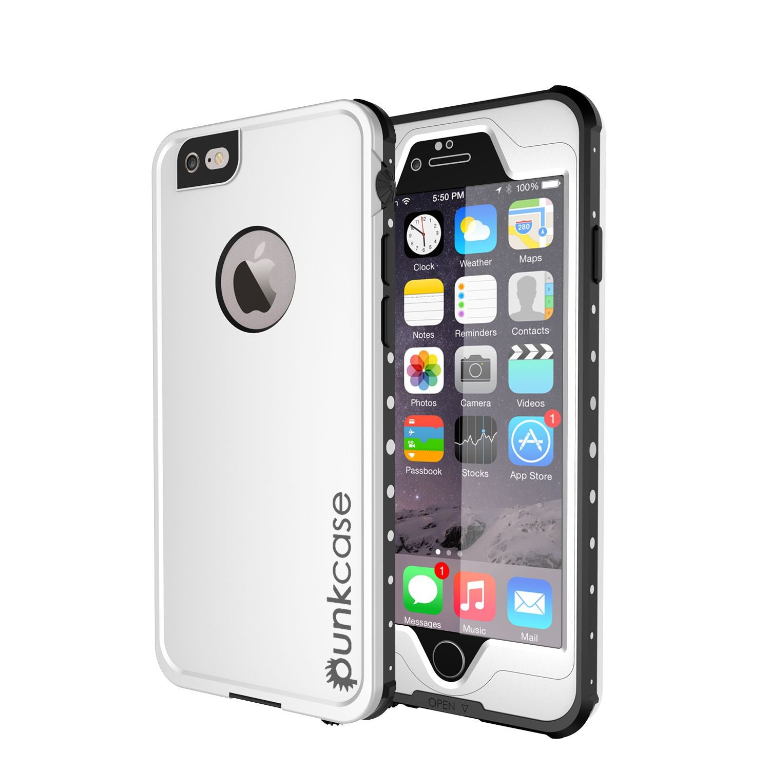 iPhone 6S+/6+ Plus Waterproof Case, PUNKcase StudStar White w/ Attached Screen Protector | Warranty