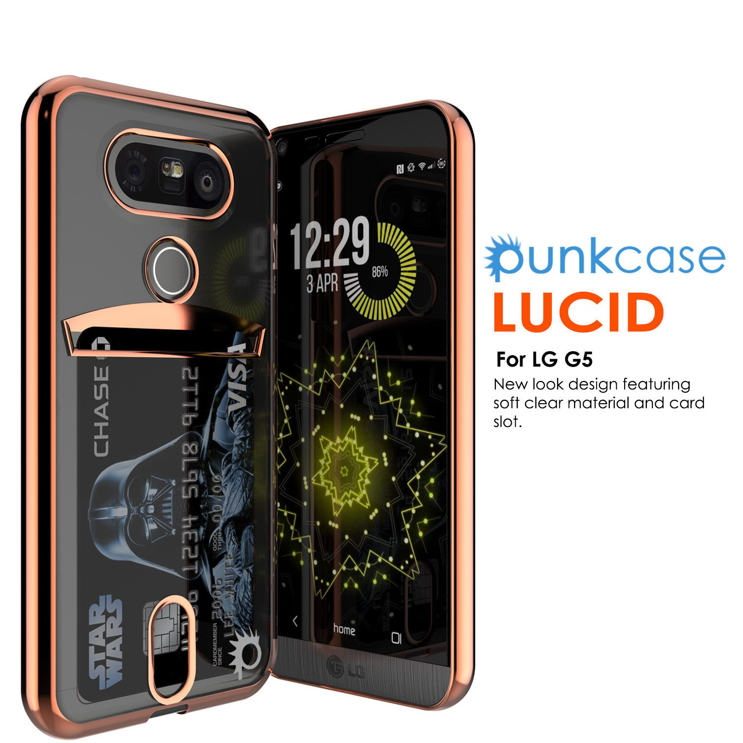LG G5 Case, PUNKCASE® Rose Gold LUCID  Series | Card Slot | PUNK SHIELD Screen Protector