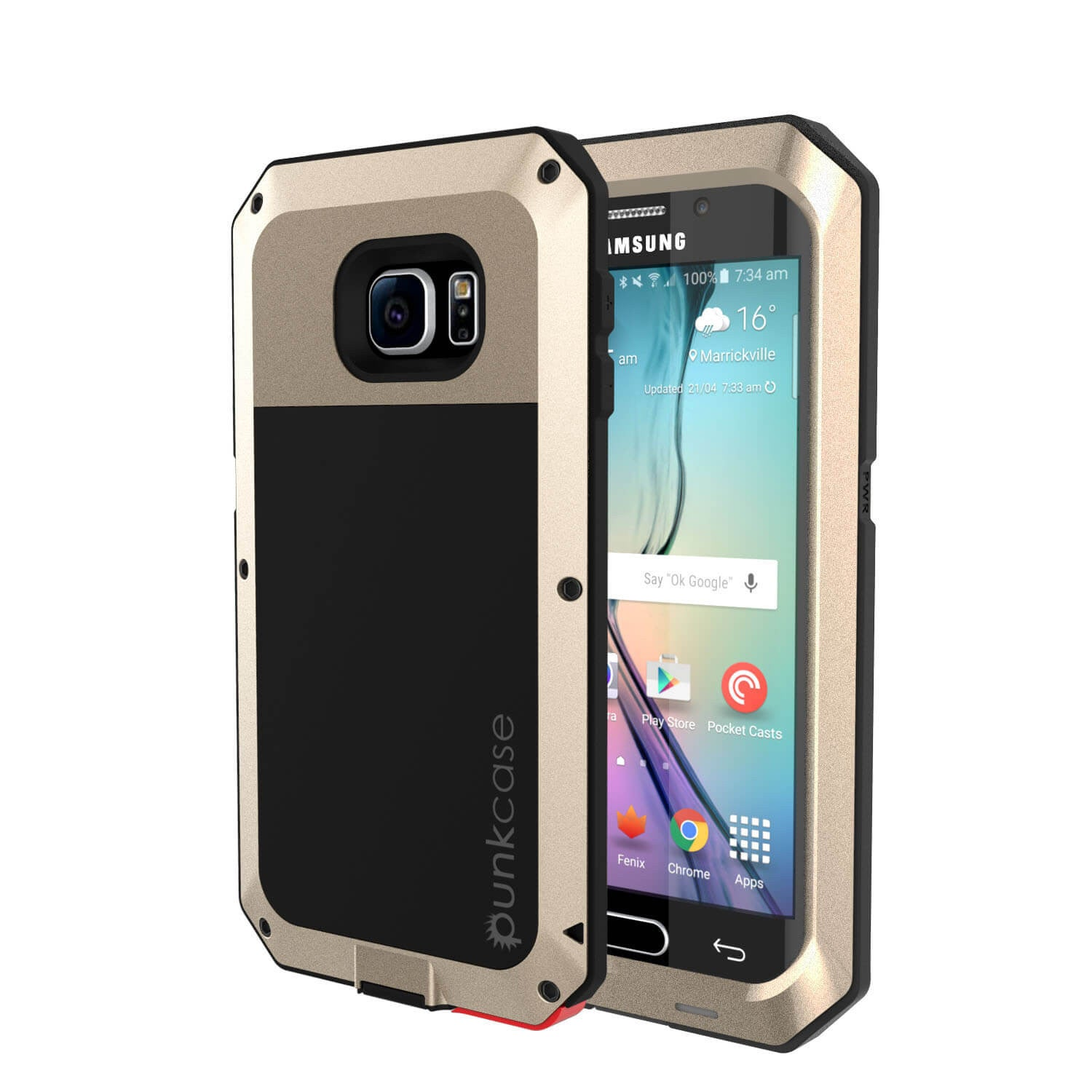 Galaxy S6 EDGE+ Plus  Case, PUNKcase Metallic Gold Shockproof  Slim Metal Armor Case