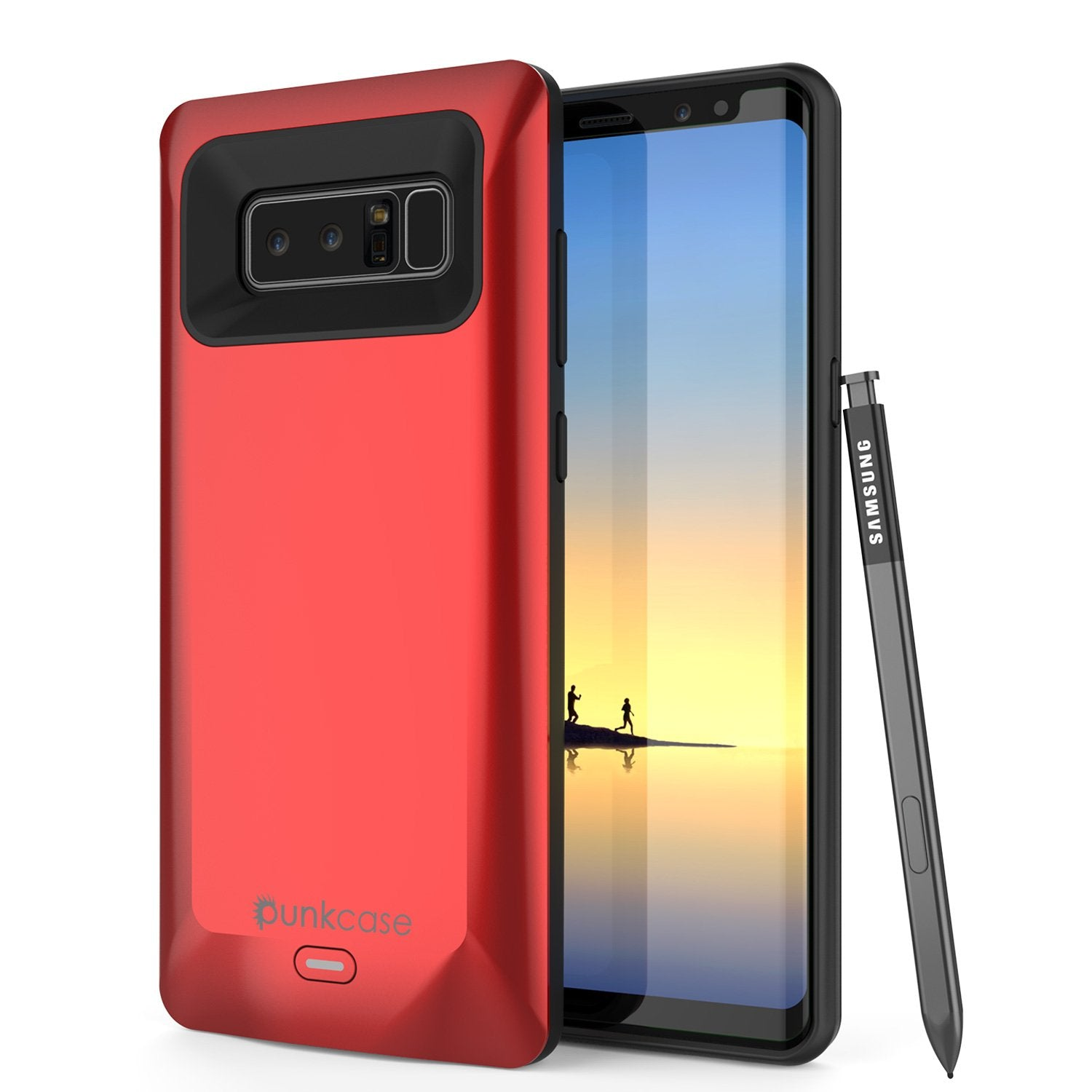 Galaxy Note 8 Battery Case, Punkcase 5000mAH Charger Case W/ Screen Protector | Integrated USB Port | IntelSwitch [Red]