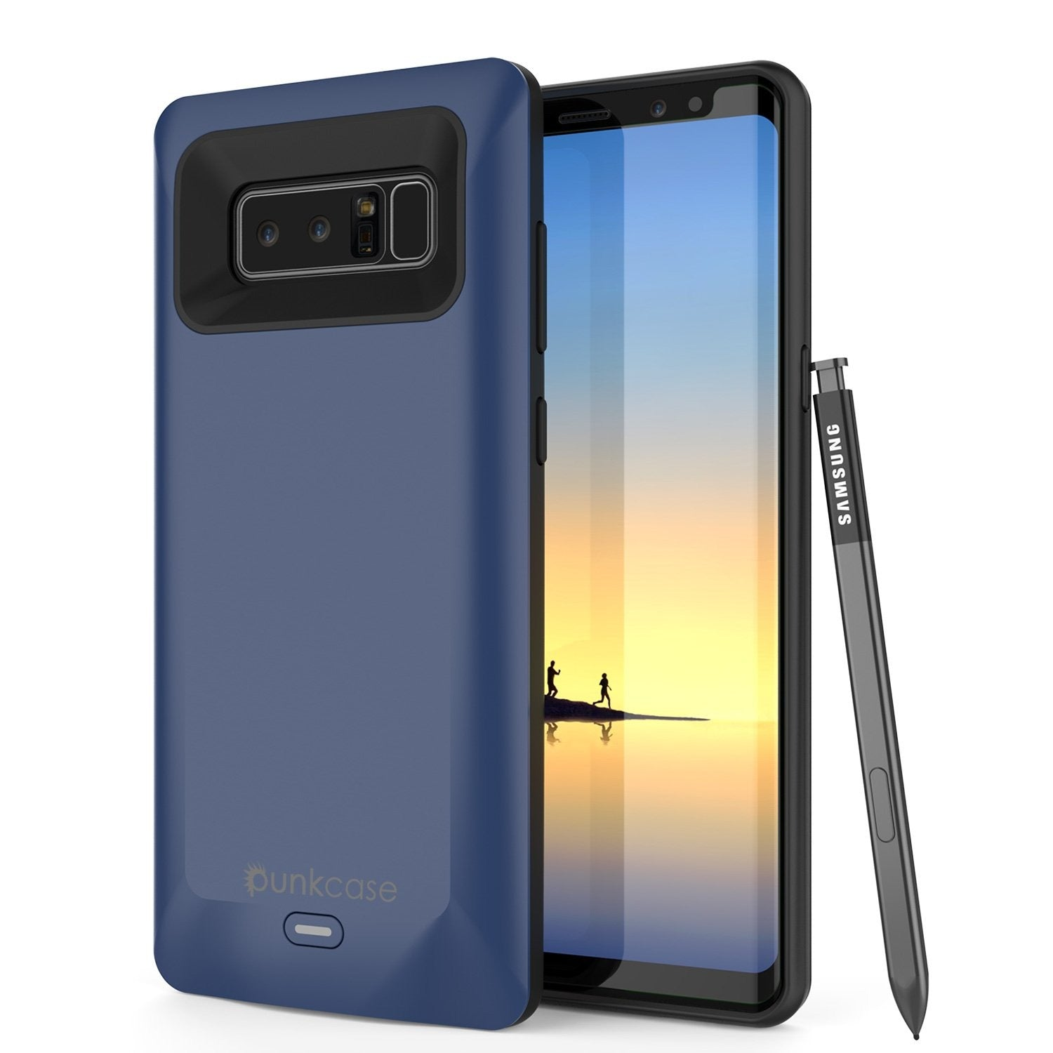 Galaxy Note 8 Battery Case, Punkcase 5000mAH Charger Case W/ Screen Protector | Integrated USB Port | IntelSwitch [Blue]