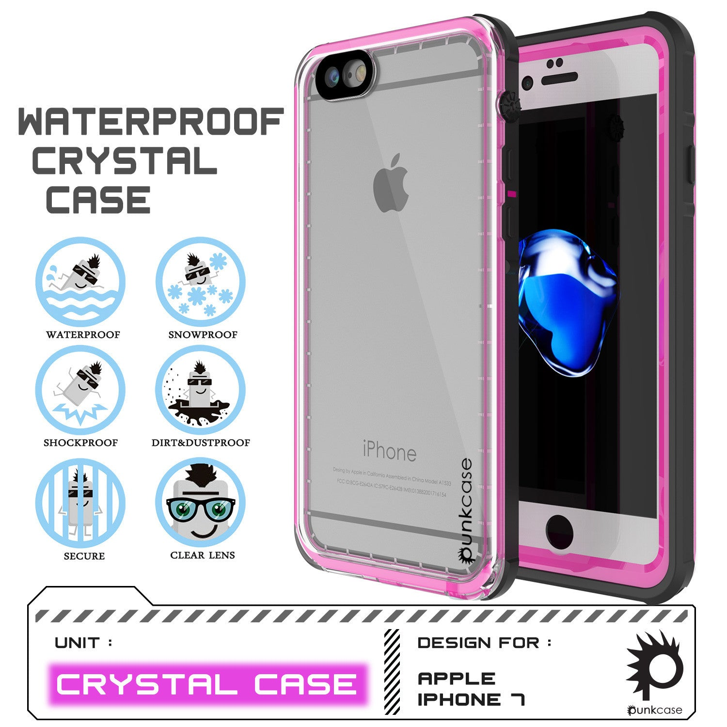 Apple iPhone 7 Waterproof Case, PUNKcase CRYSTAL Pink W/ Attached Screen Protector  | Warranty